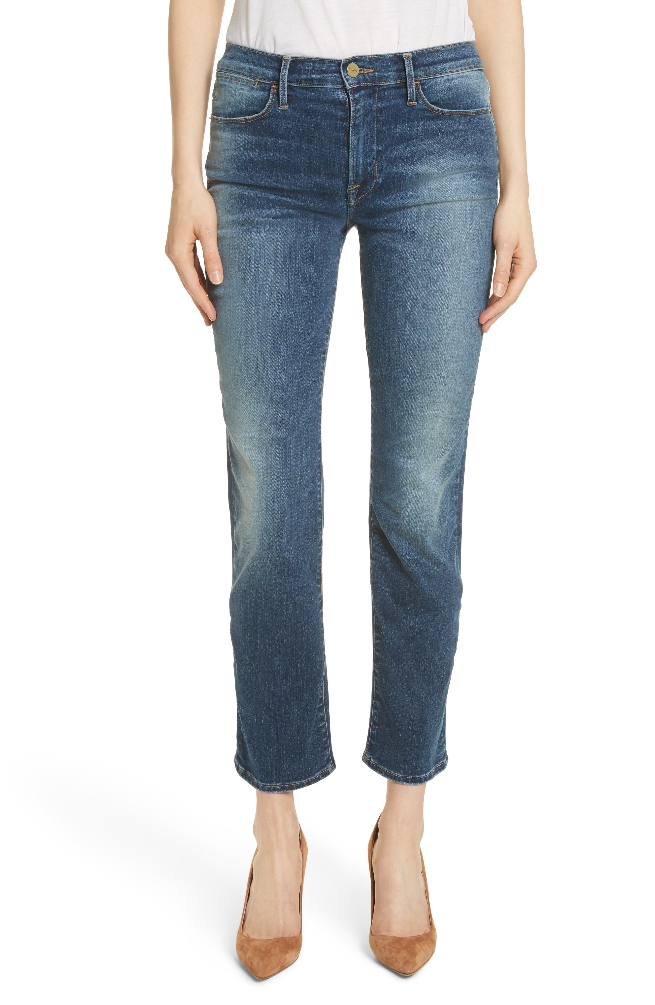 Le High Ankle Straight Leg Jeans,                             Main thumbnail 1, color,