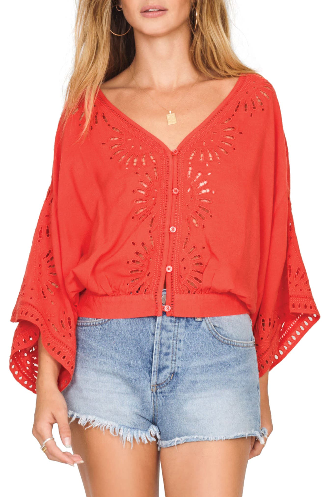 Serenade Flare Sleeve Top,                         Main,                         color, REBEL RED
