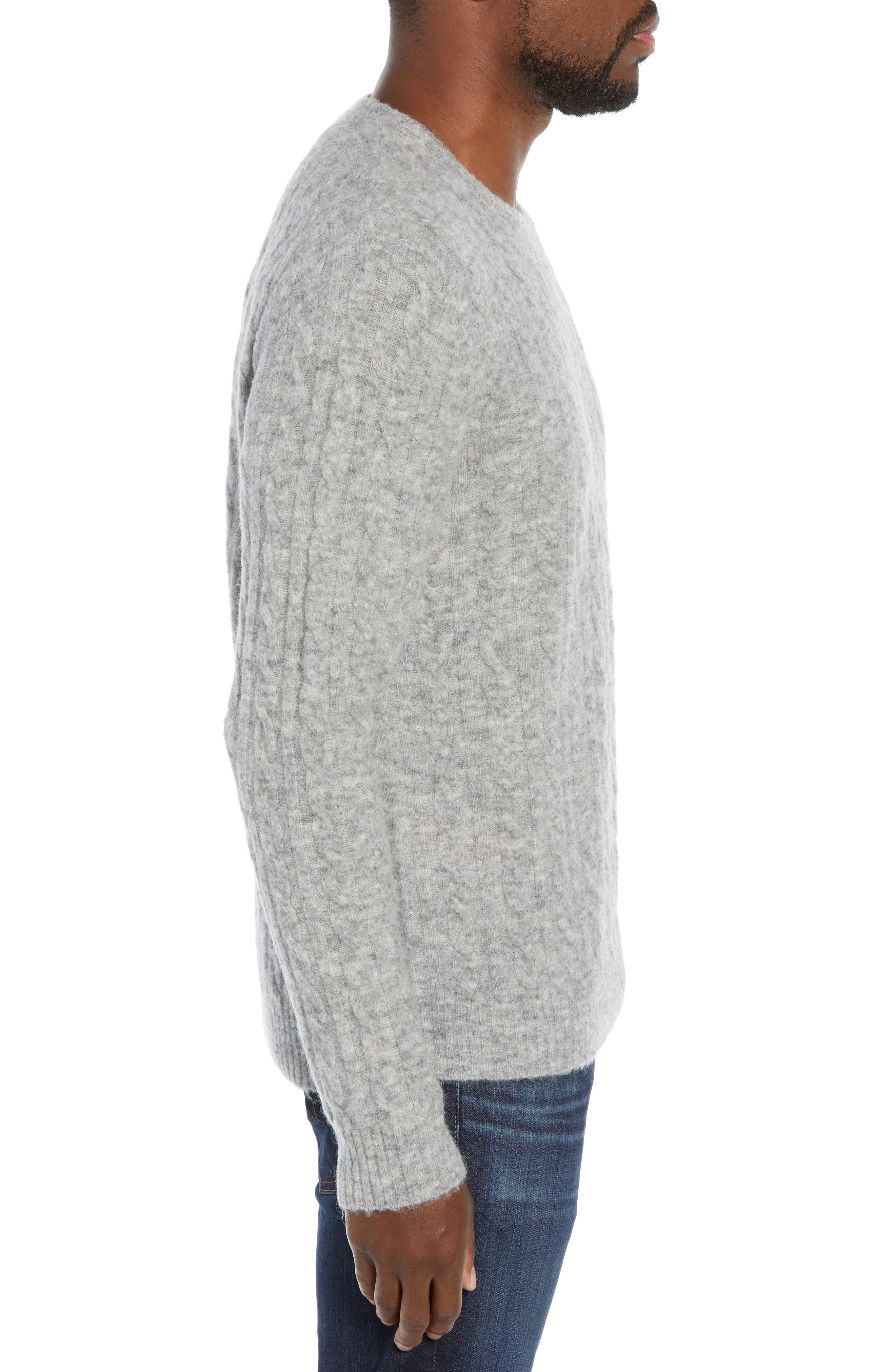Slim Fit Cable Wool Blend Sweater,                             Alternate thumbnail 3, color,                             HEATHER GREY