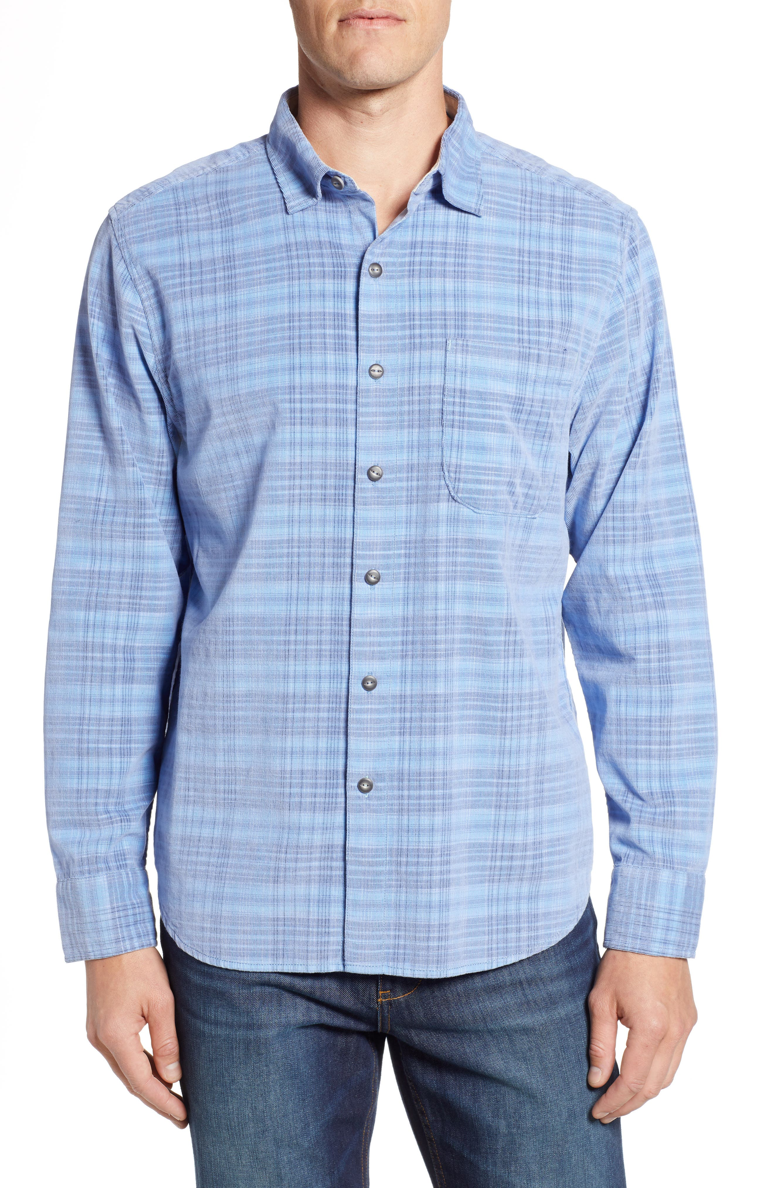 Cruzy Plaid Corduroy Sport Shirt,                         Main,                         color, RIVIERA AZURE