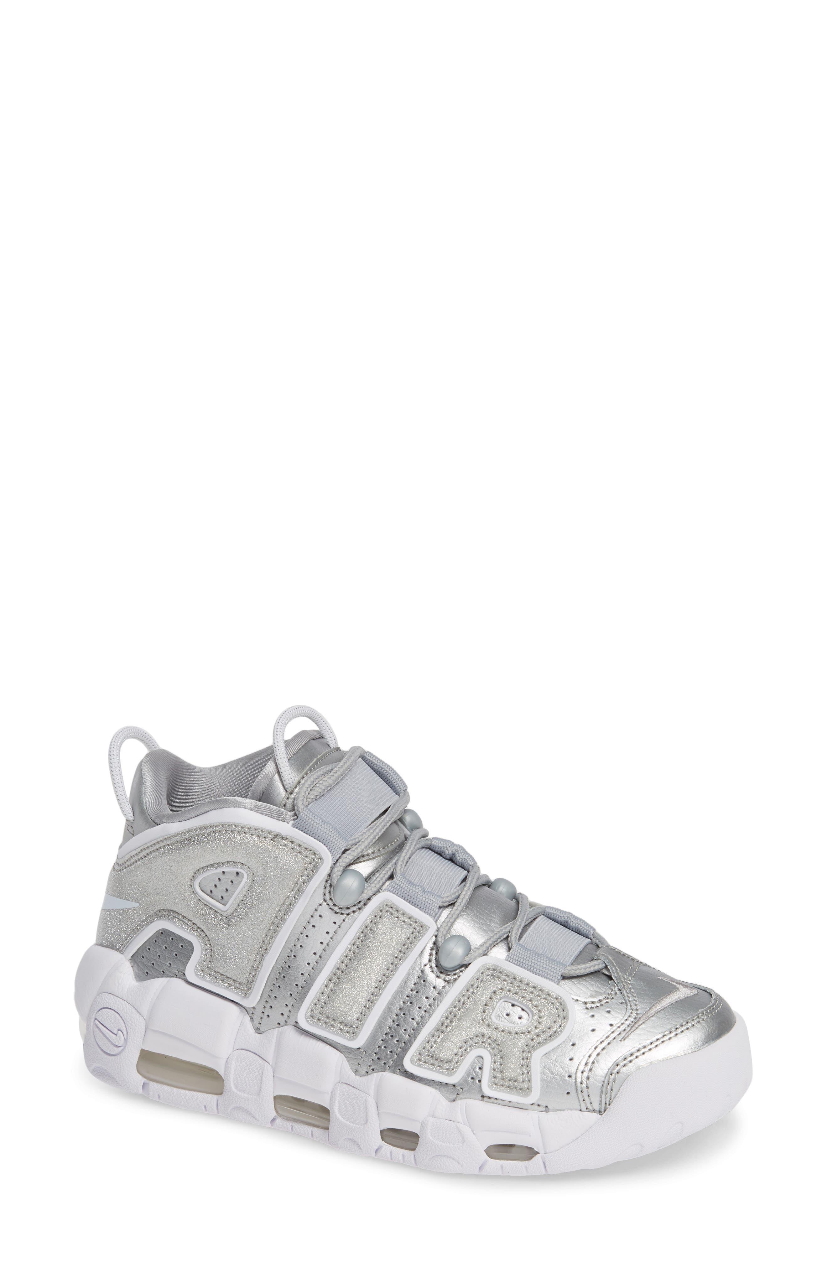 Air More Uptempo Sneaker,                             Main thumbnail 1, color,                             METALLIC SILVER
