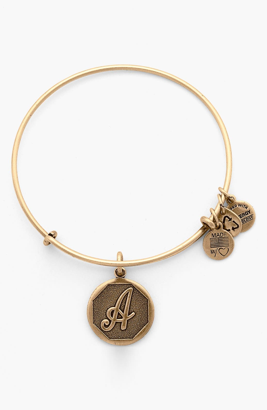 'Initial' Adjustable Wire Bangle, Main, color, 710