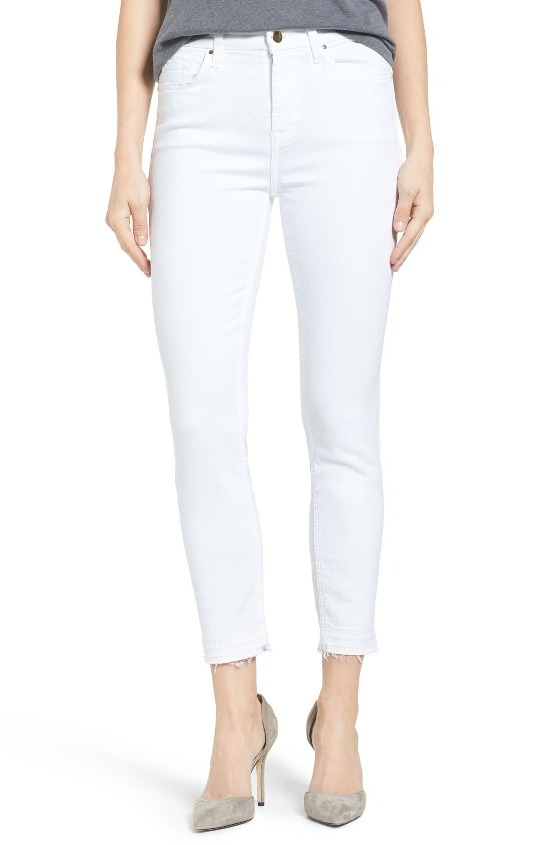 JEN7 Skinny Ankle Jeans W/ Released Hem, White in White Denim