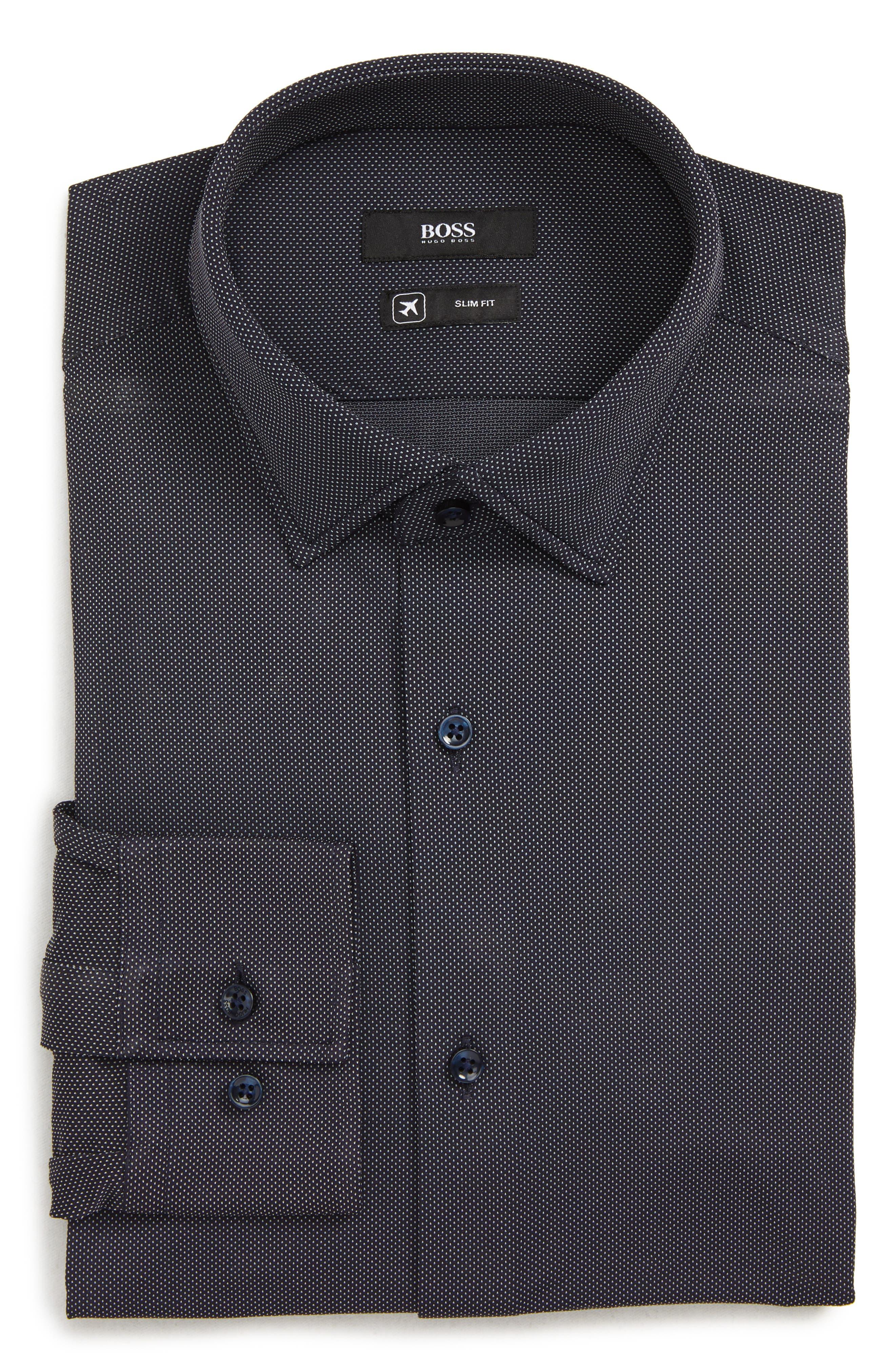 Boss Jenno Slim Fit Stretch Dot Dress Shirt - Blue