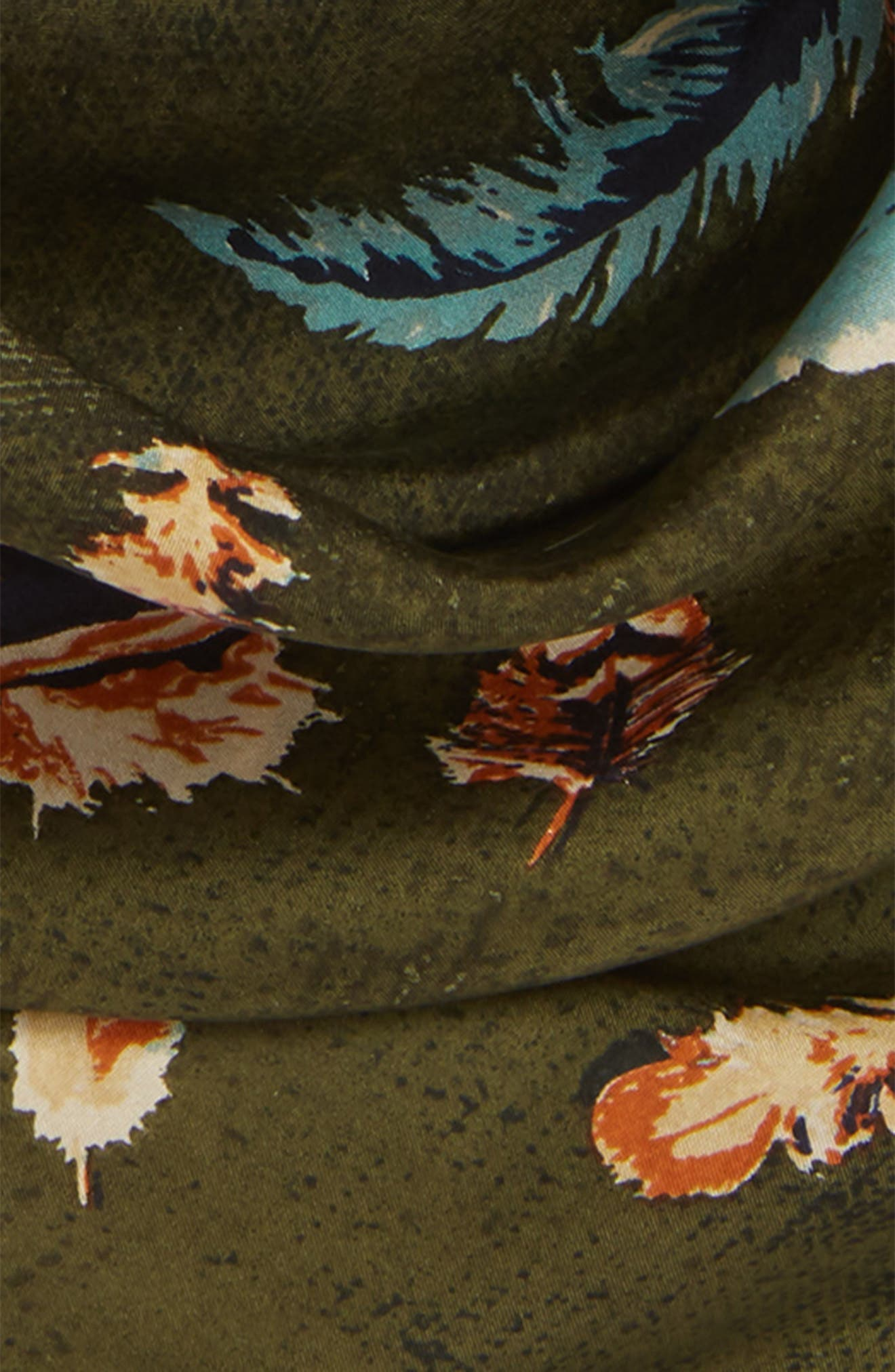 Print Square Silk Scarf,                             Alternate thumbnail 4, color,                             OLIVE FEATHER FLOW