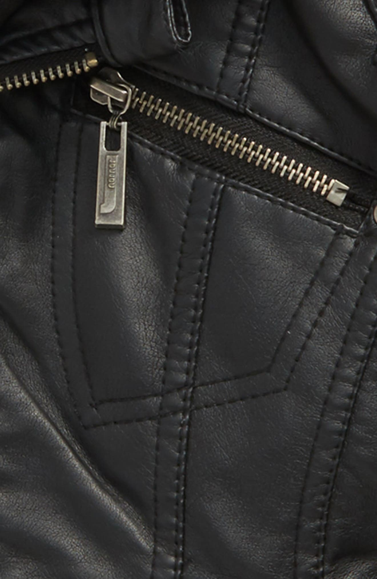 Faux Leather Moto Jacket,                             Alternate thumbnail 2, color,                             001