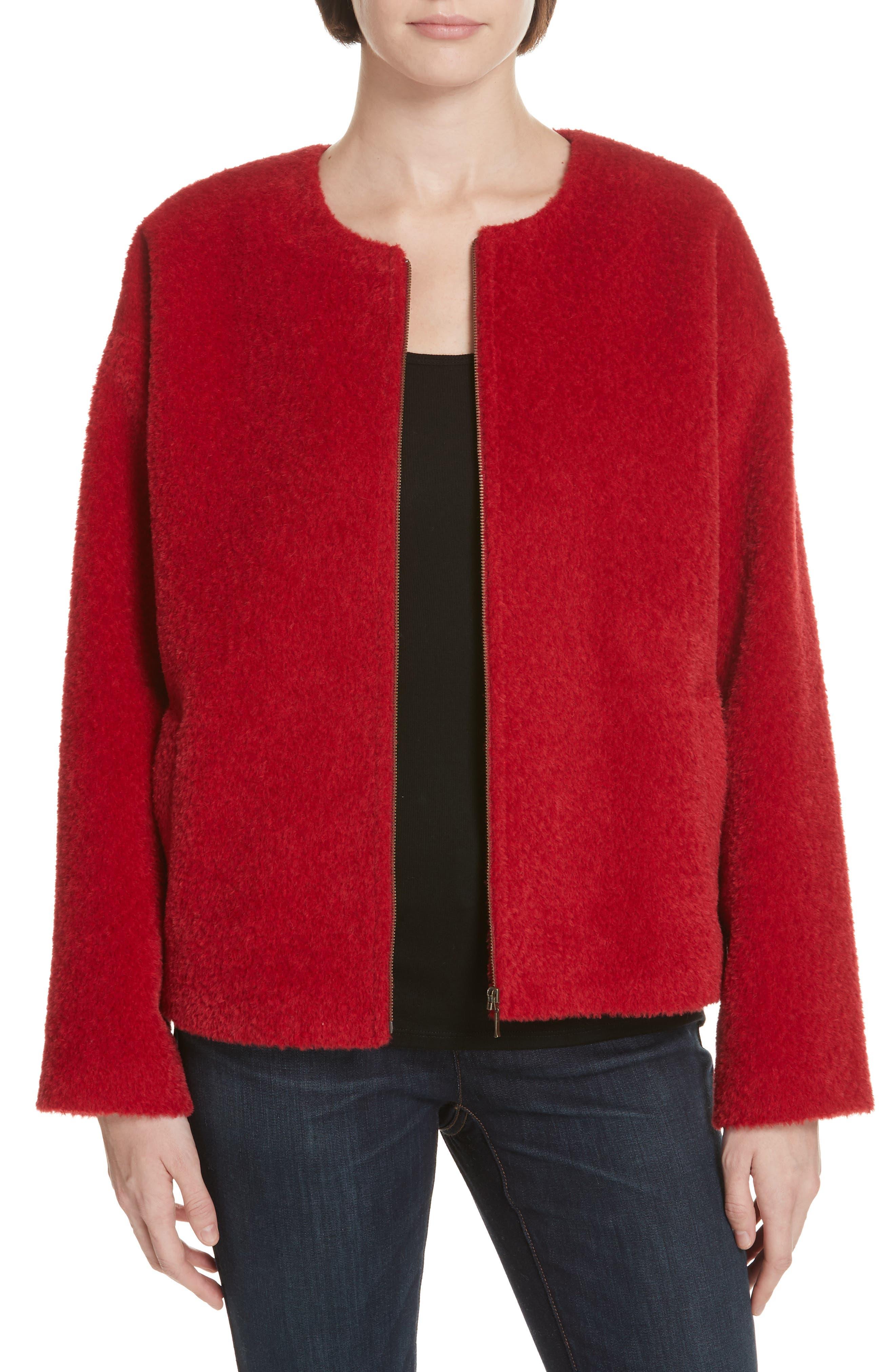Wool & Alpaca Blend Jacket,                             Main thumbnail 1, color,                             LACQUER