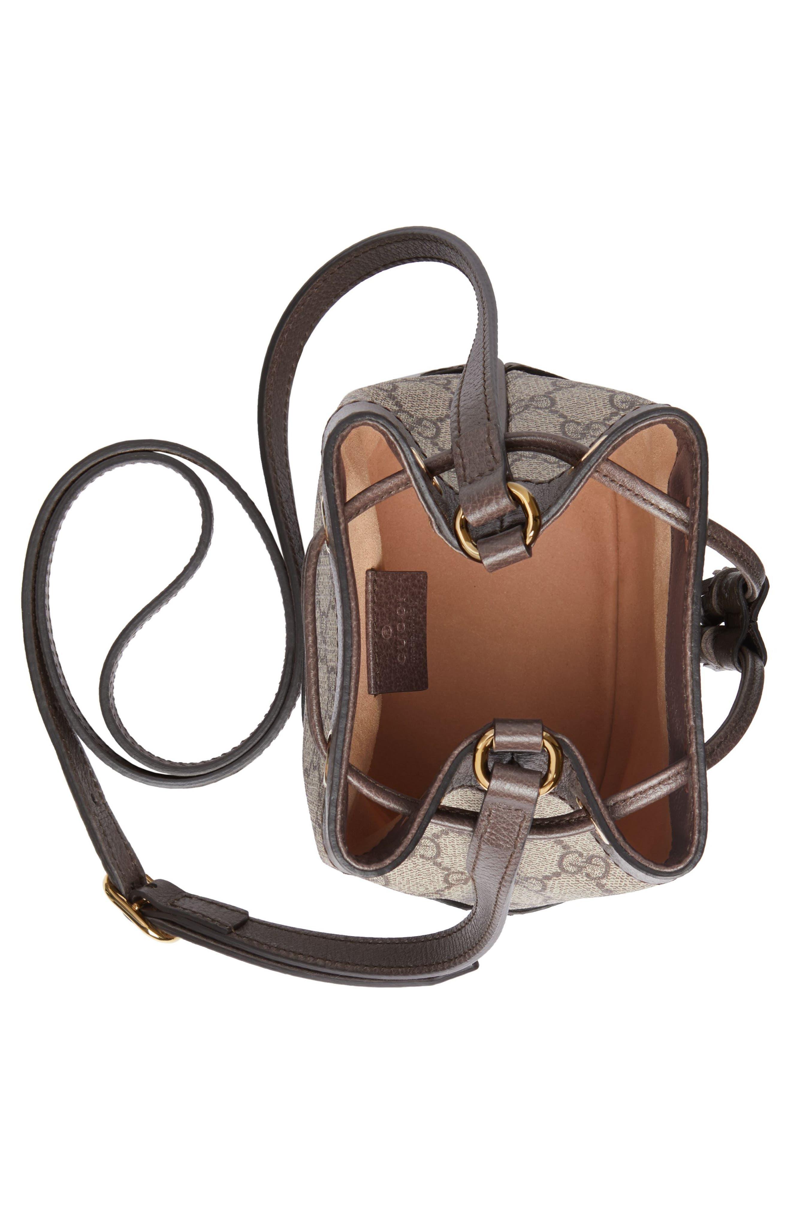 Mini Ophidia GG Supreme Bucket Bag,                             Alternate thumbnail 3, color,                             BEIGE EBONY/ NEW ACERO