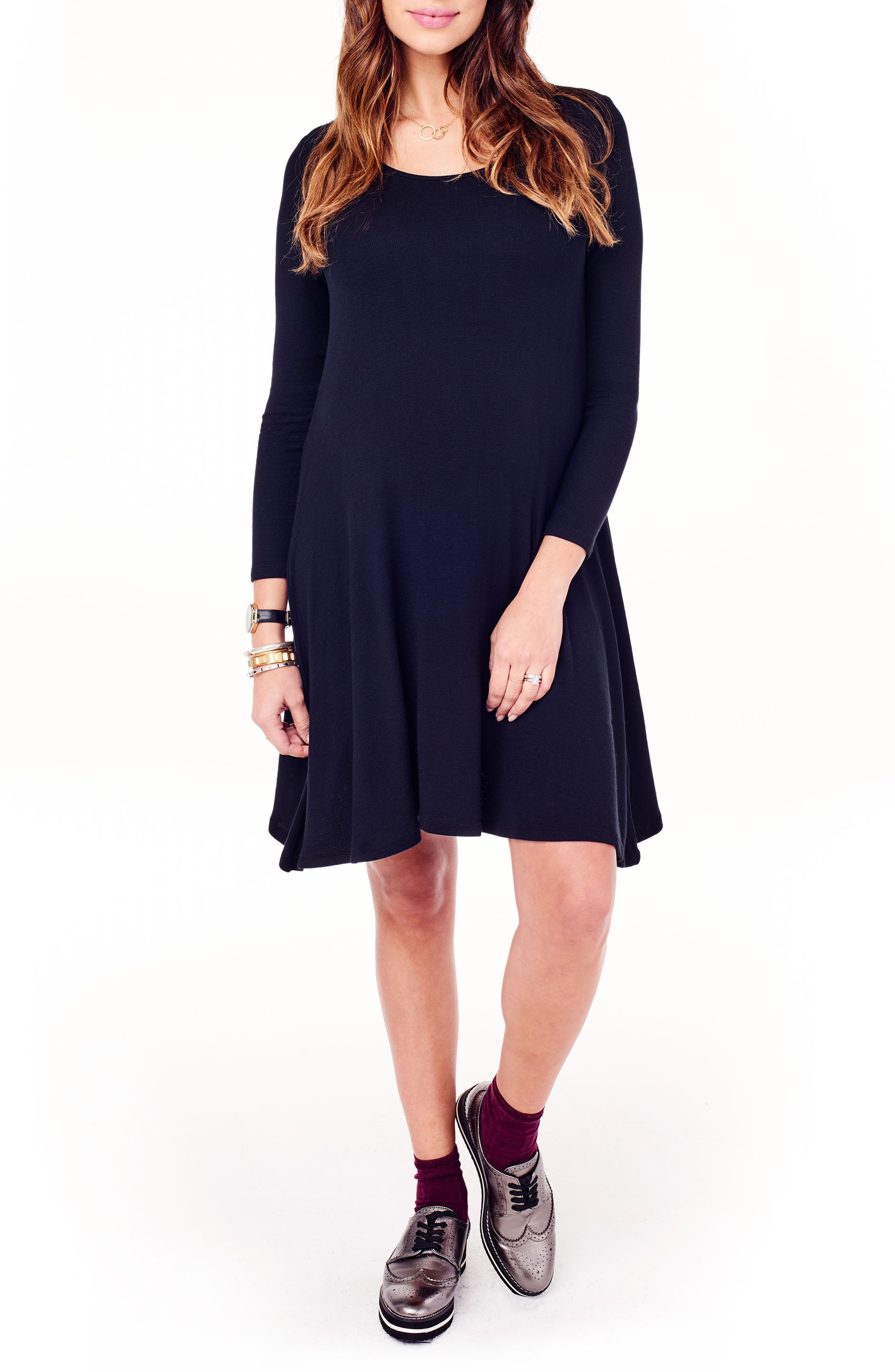 Maternity Trapeze Dress,                         Main,                         color, JET BLACK