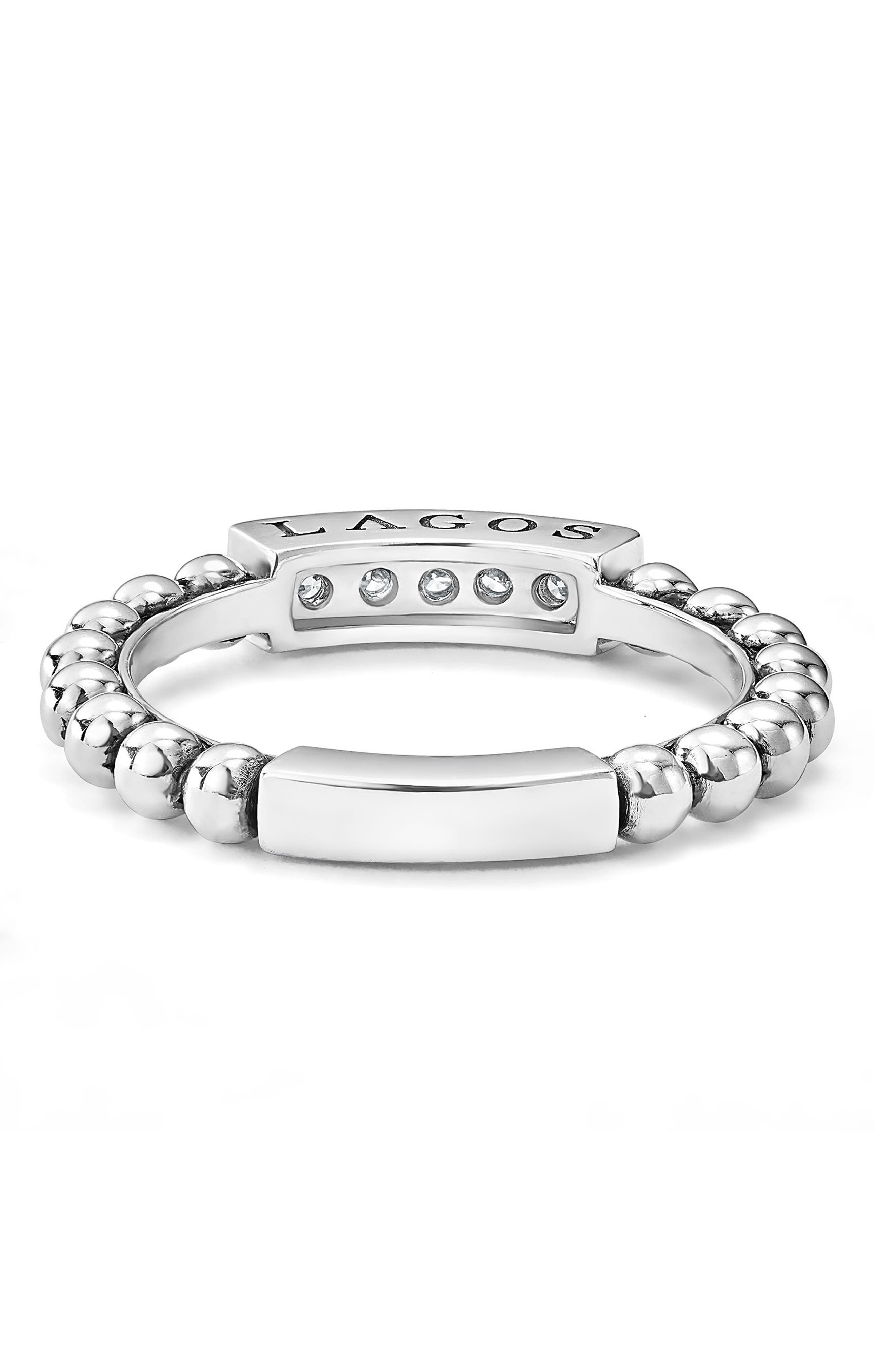 LAGOS,                             Caviar Icon Spark Diamond Stacking Ring,                             Alternate thumbnail 3, color,                             SILVER/ DIAMOND