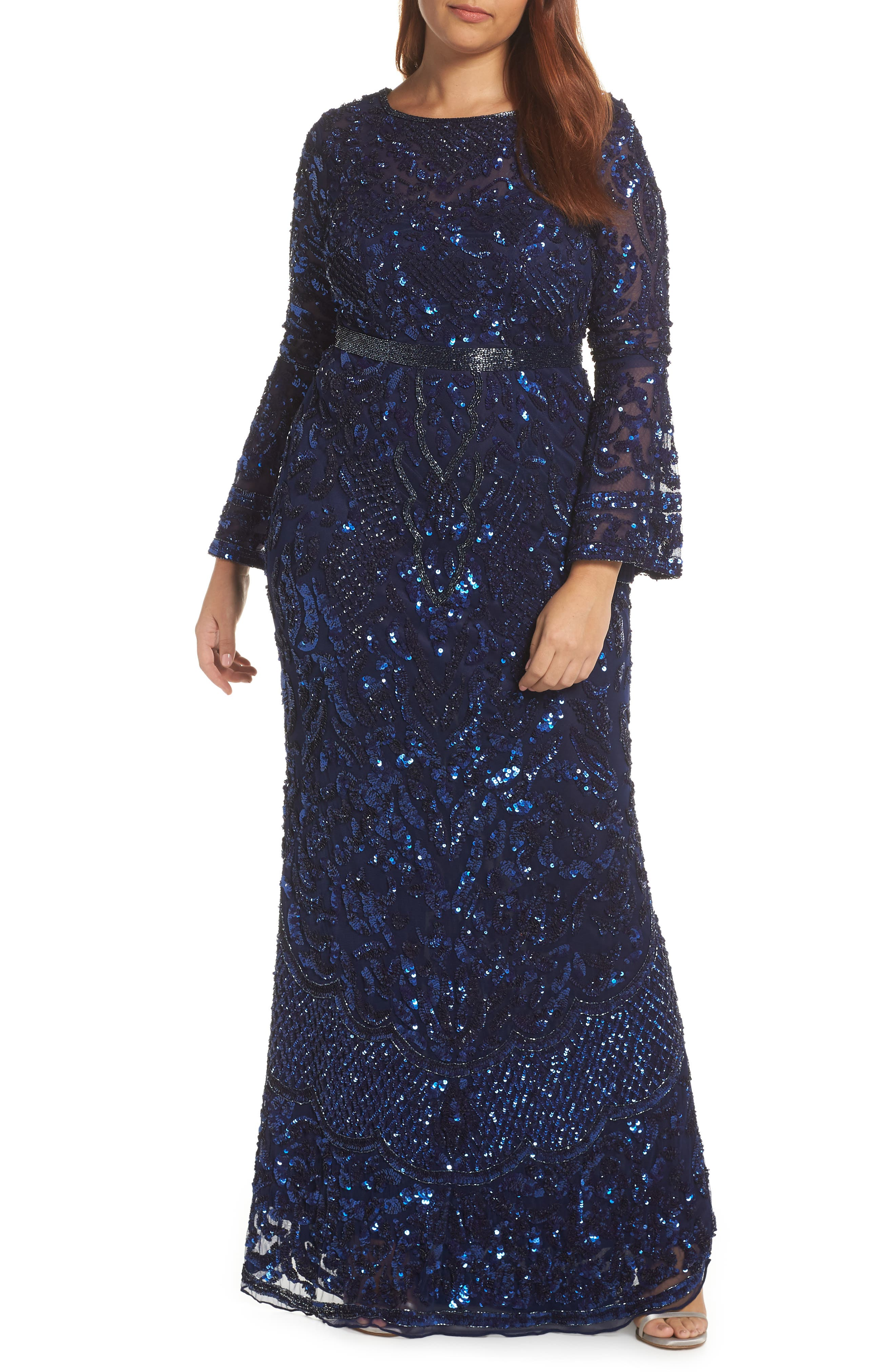 Sequin Bell Sleeve Gown,                             Alternate thumbnail 2, color,                             MIDNIGHT