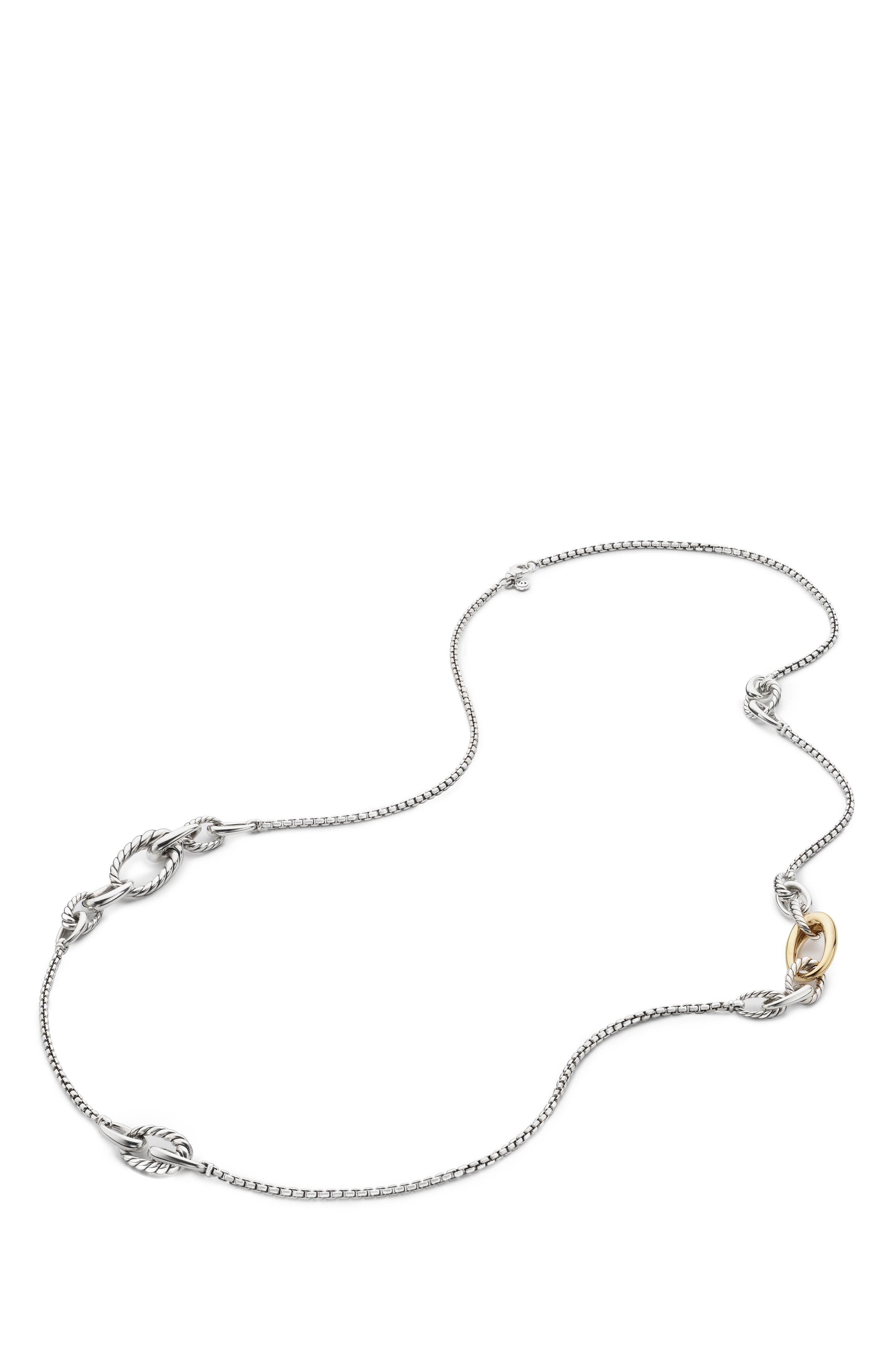 Pure Form Graduated Chain Station Necklace,                             Main thumbnail 1, color,                             GOLD/ SILVER