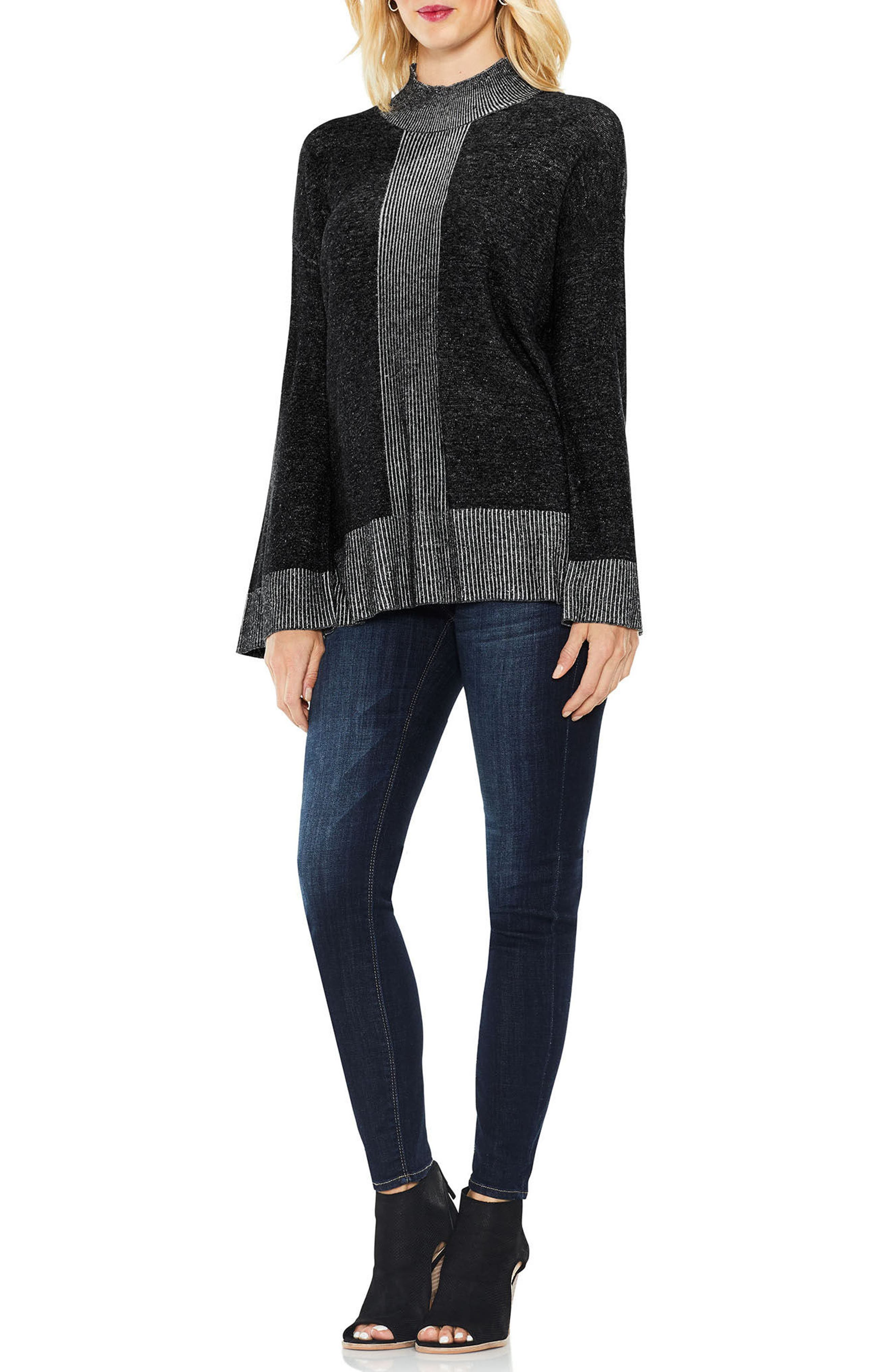 Two by Vince Camuto Ribbed Contrast Sweater,                             Alternate thumbnail 7, color,