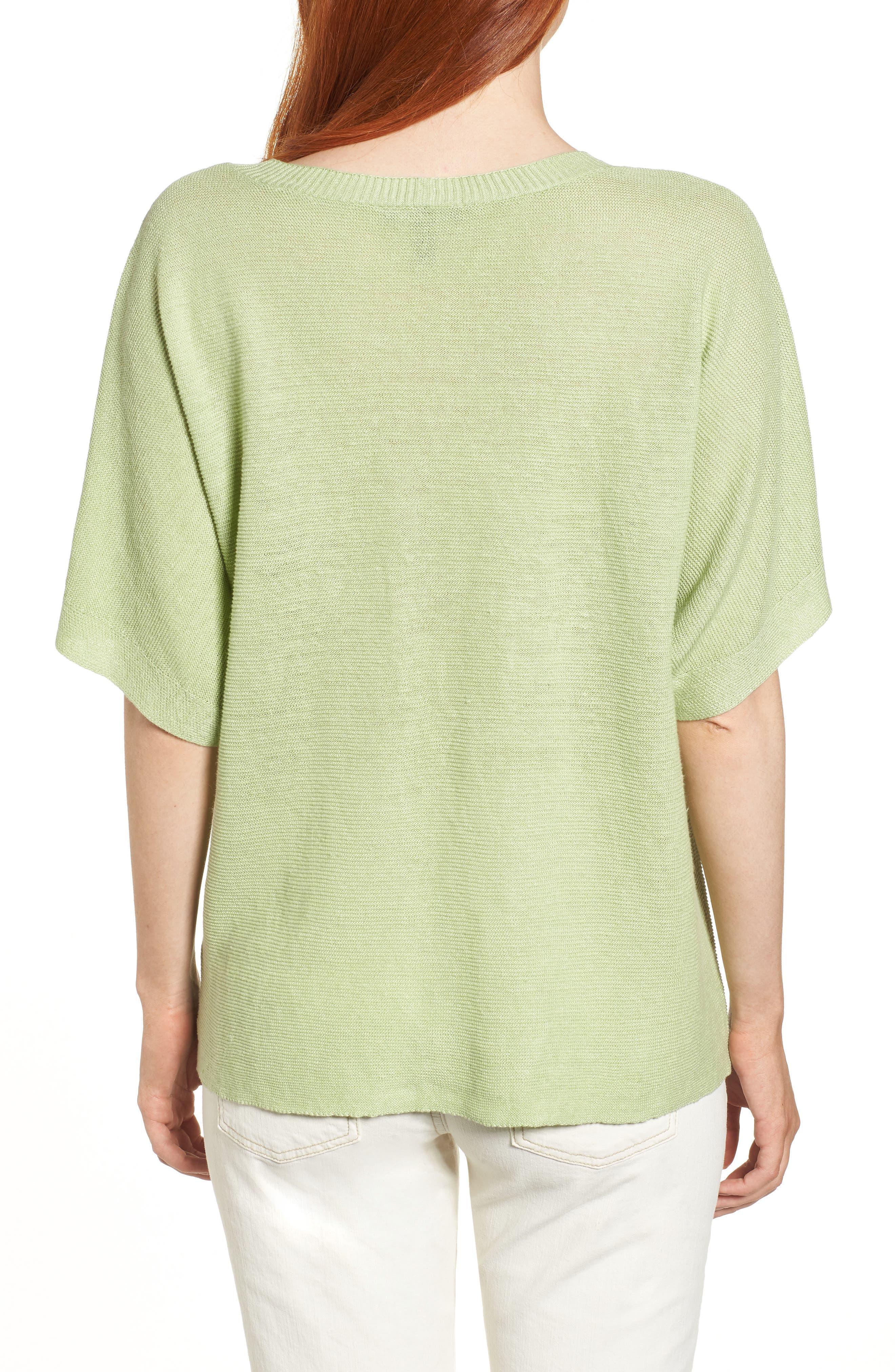 V-Neck Organic Linen Top,                             Alternate thumbnail 11, color,
