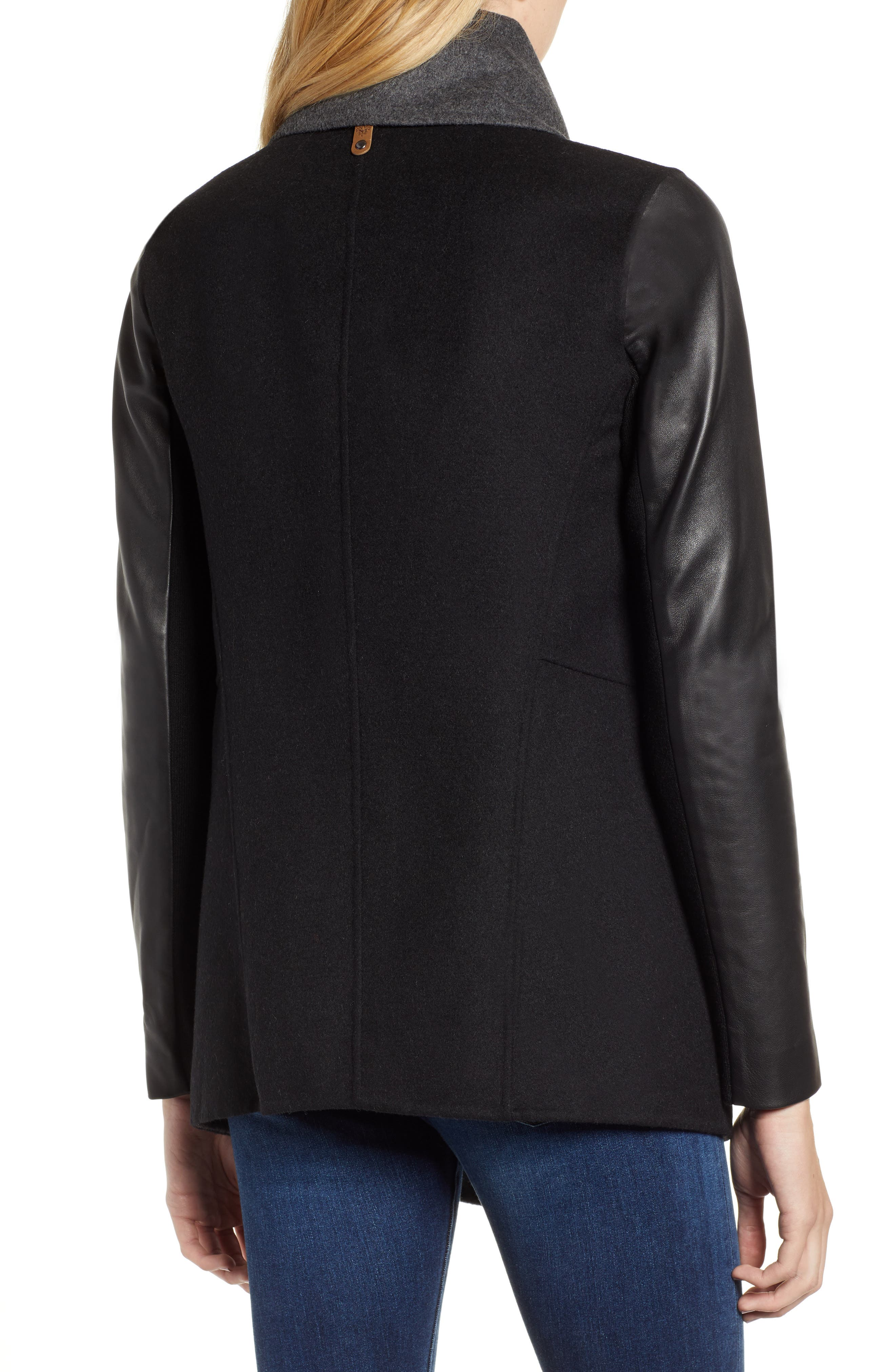 Vane Asymmetrical Leather Sleeve Coat,                             Alternate thumbnail 2, color,                             BLACK/ CHARCOAL
