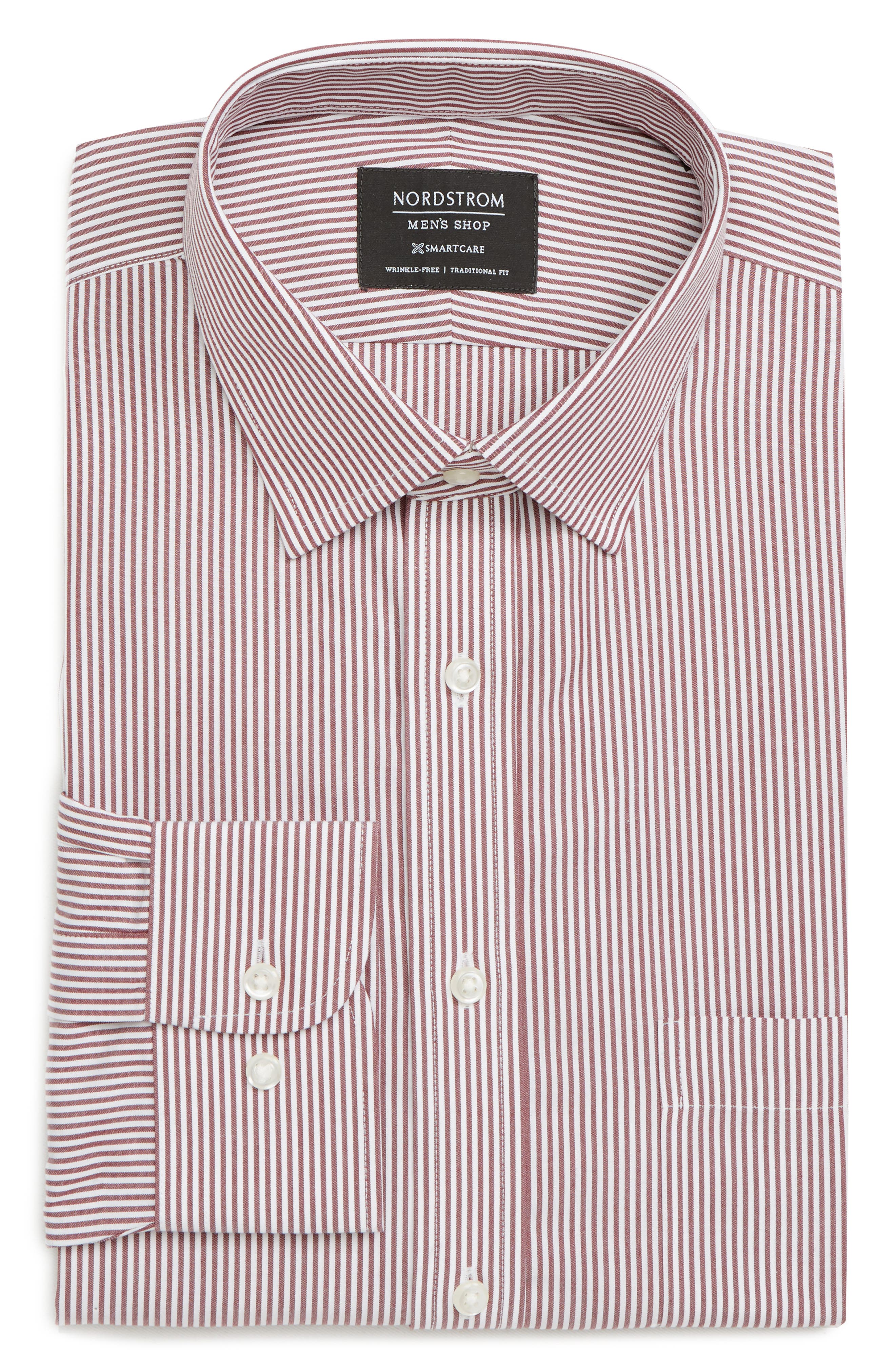 Nordstrom Shop Smartcare(TM) Traditional Fit Stripe Dress Shirt - Red