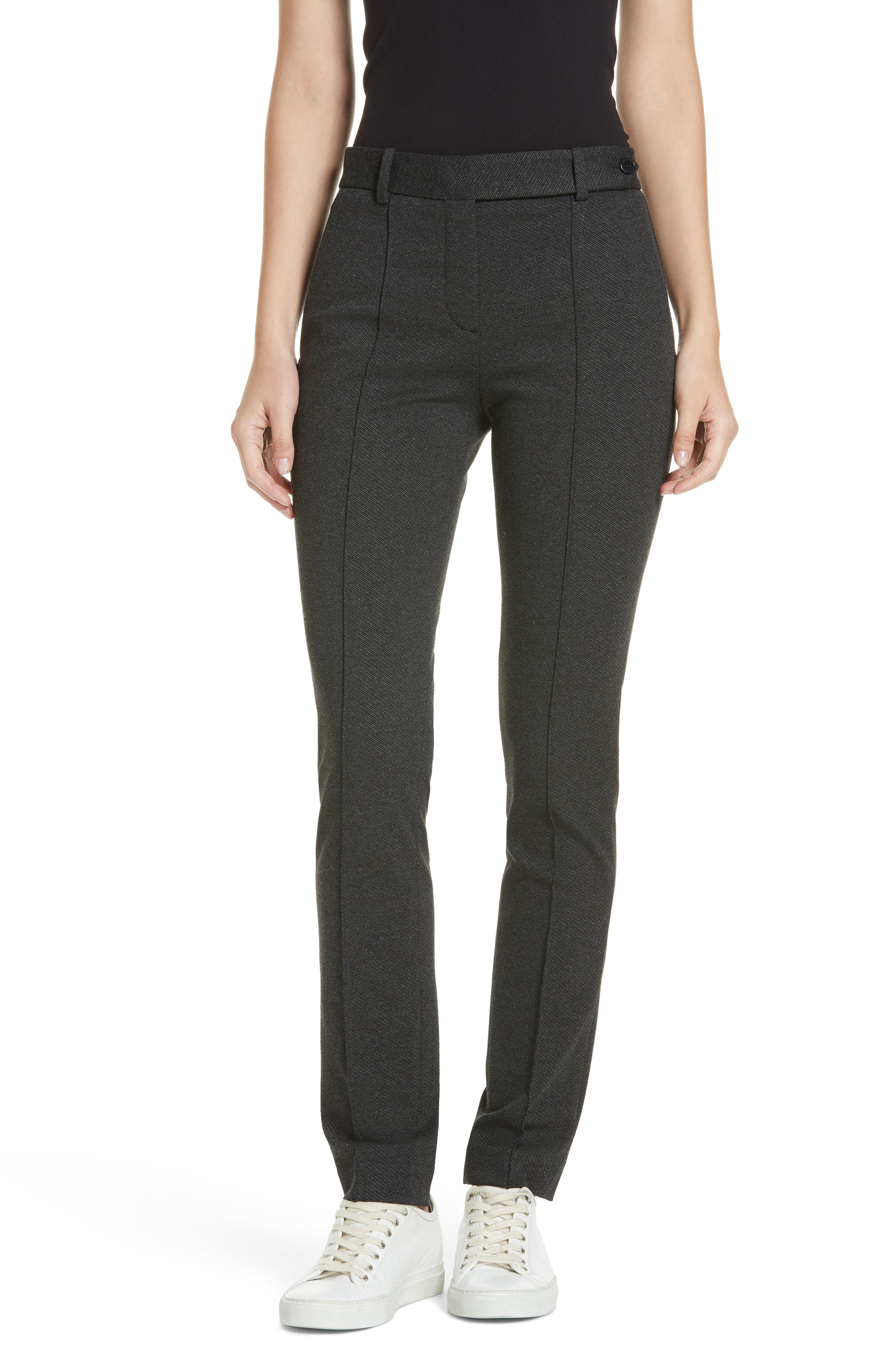Seamed Front Stretch Twill Pants,                         Main,                         color, BLACK