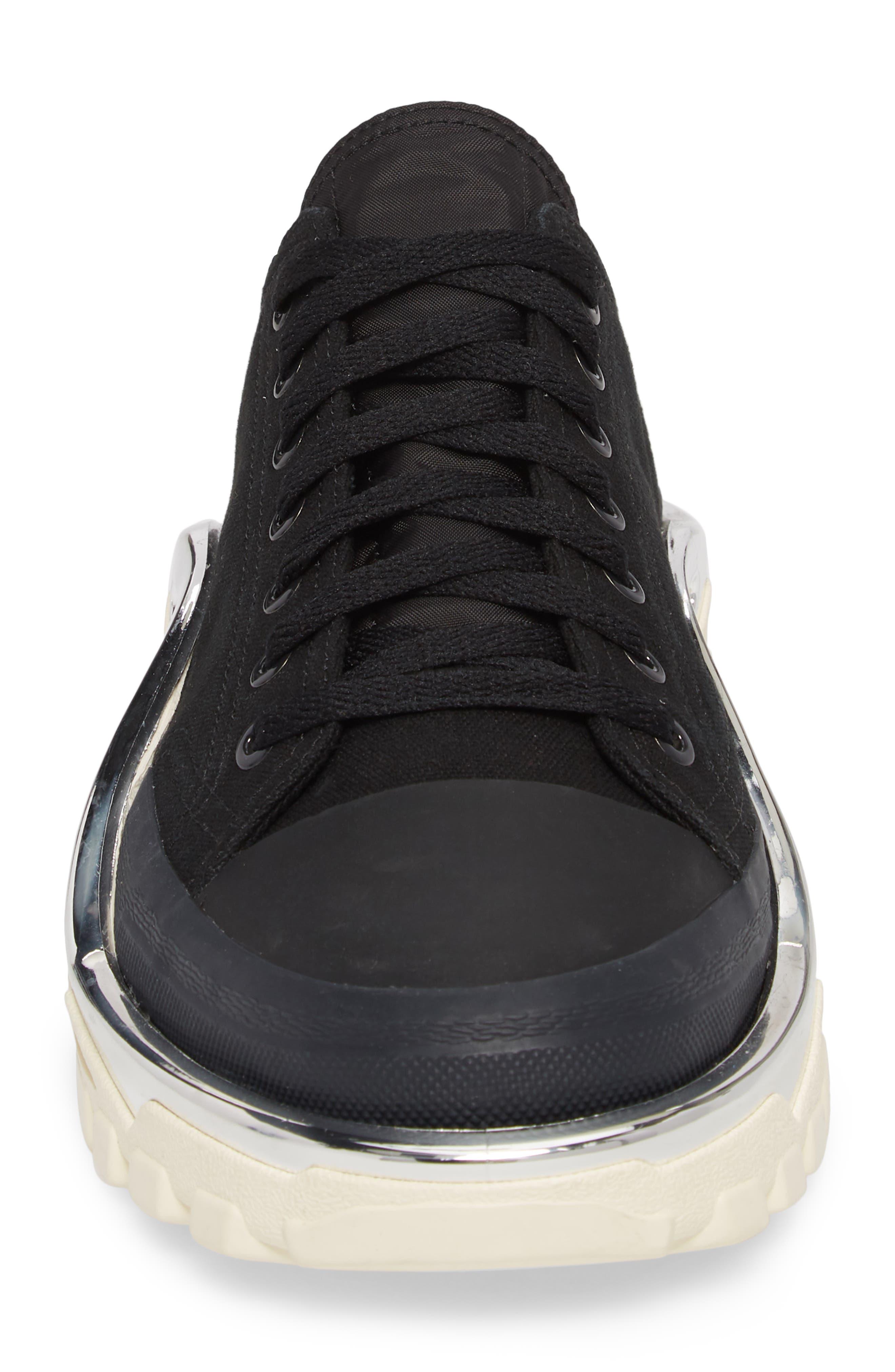 adidas by Raf Simons Detroit Low Top Sneaker,                             Alternate thumbnail 4, color,                             CORE BLACK/ CREAM WHITE