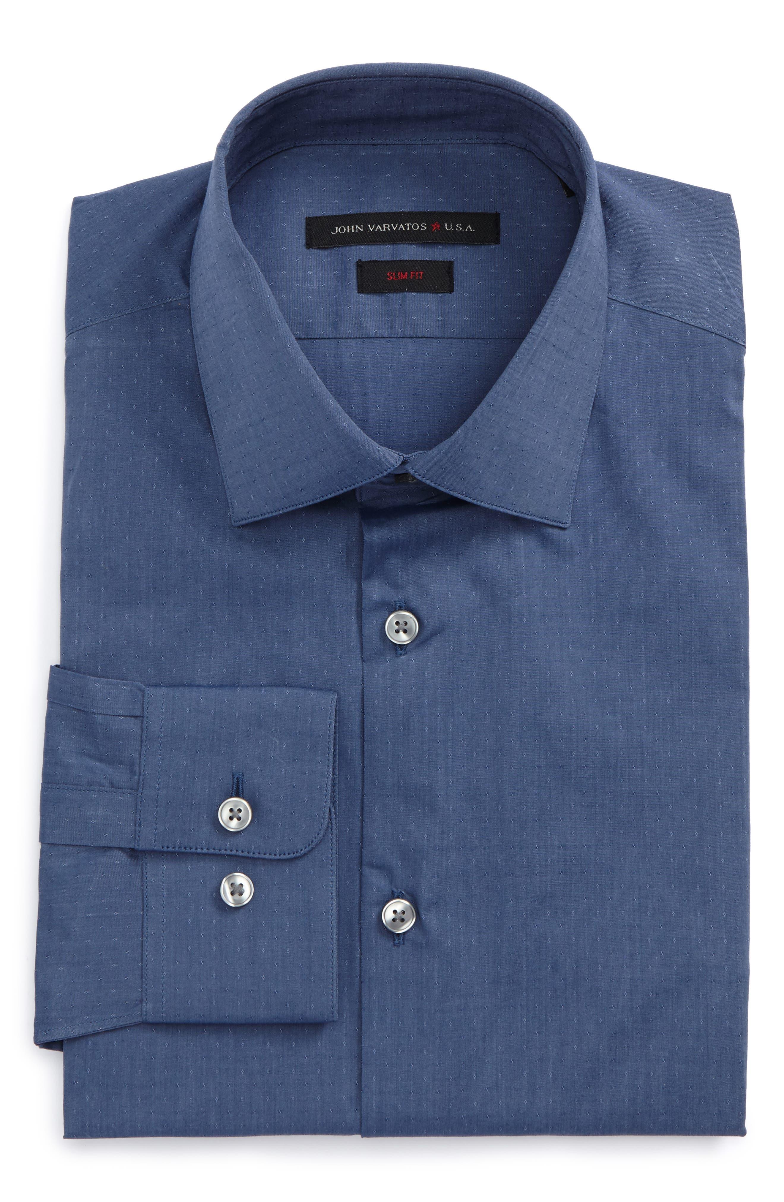 Slim Fit Stretch Dot Dress Shirt,                         Main,                         color, 439