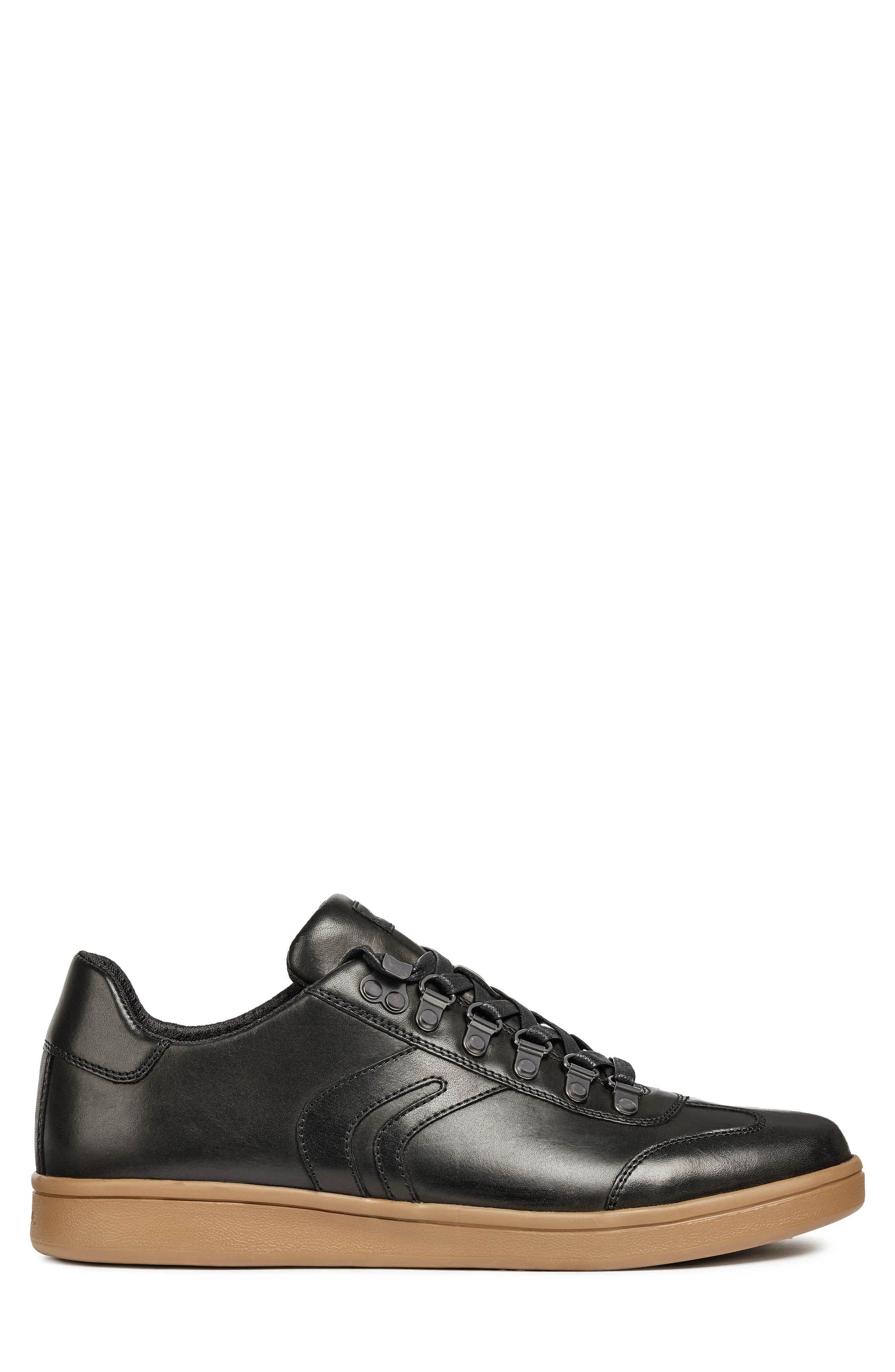 Warrens 12 Low Top Sneaker,                             Alternate thumbnail 3, color,                             BLACK LEATHER
