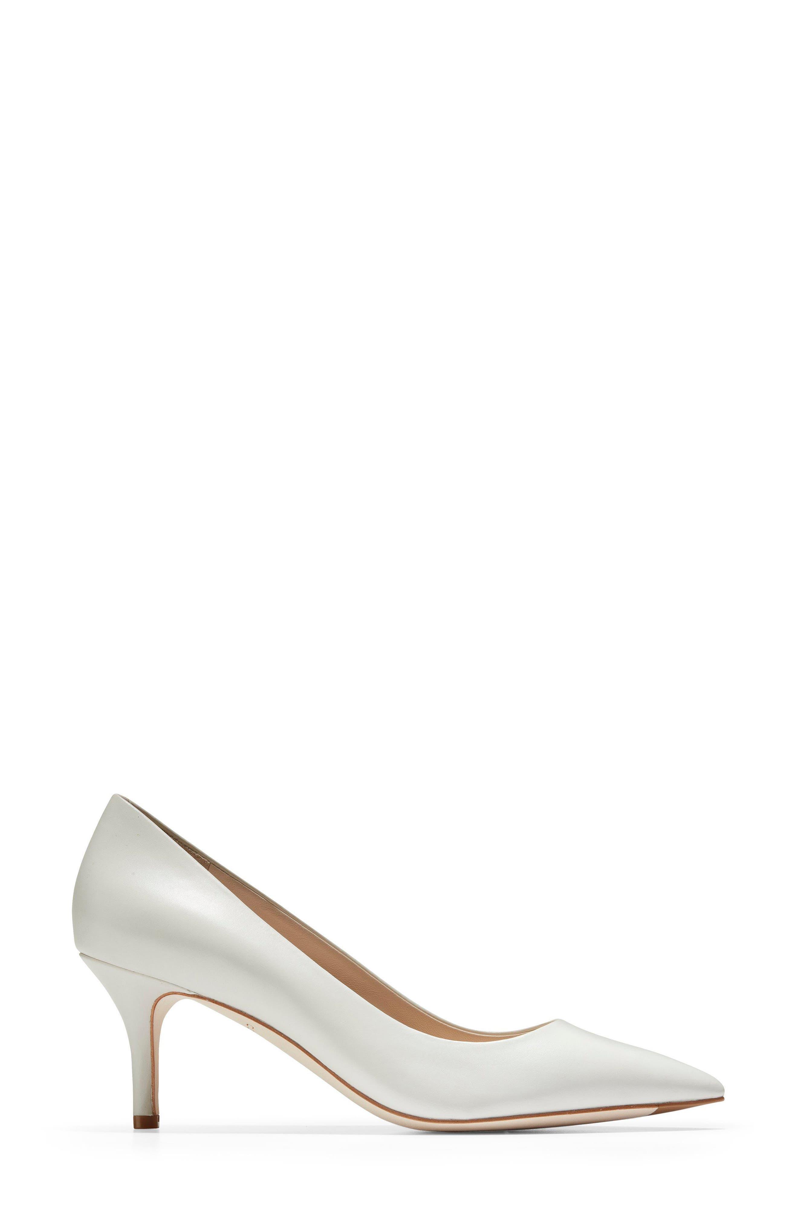 Vesta Pointy Toe Pump,                             Alternate thumbnail 3, color,                             WHITE LEATHER
