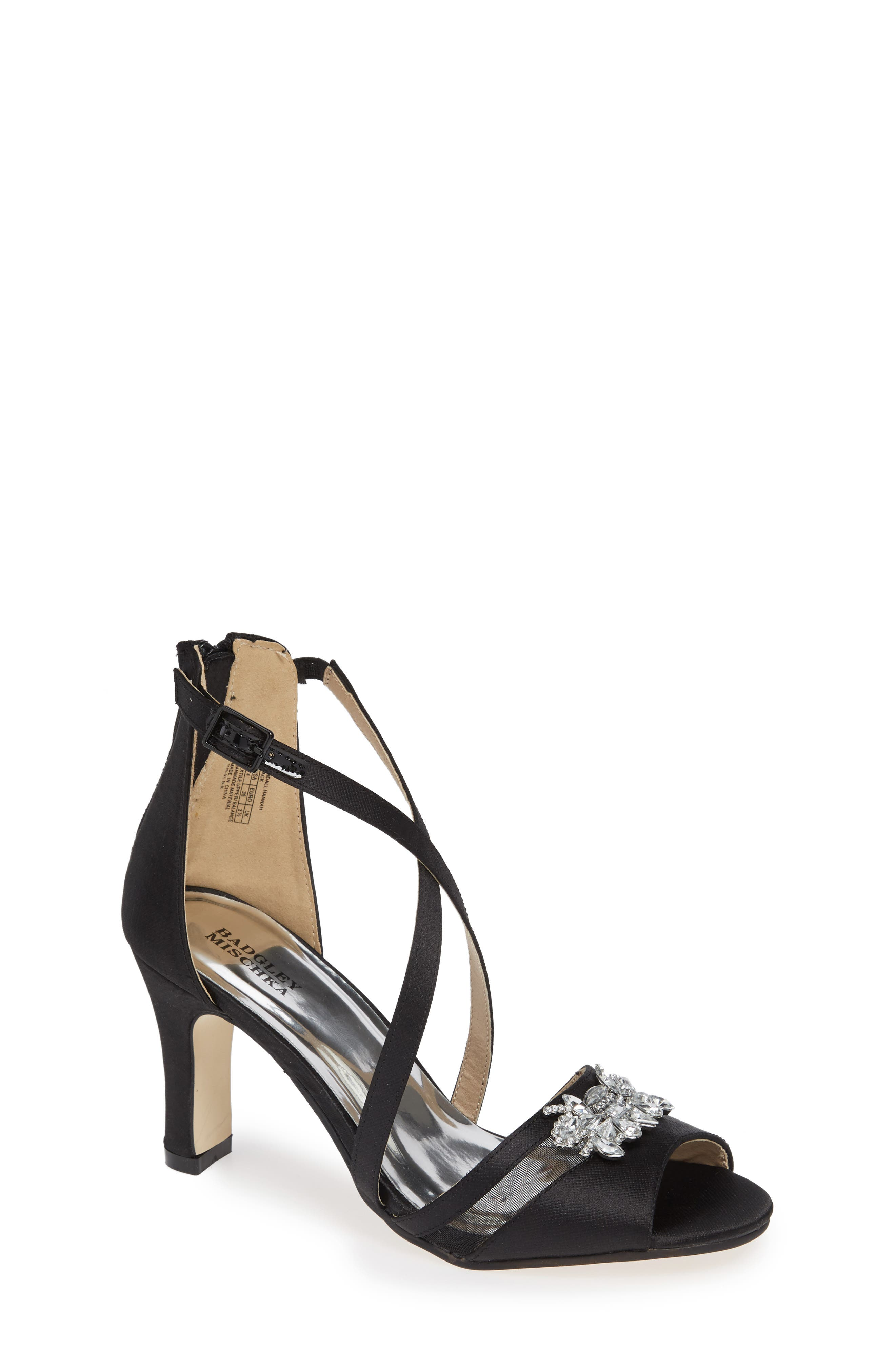 Badgley Mischka Kandall Hannah Embellished Cross Strap Sandal, Main, color, BLACK SATIN