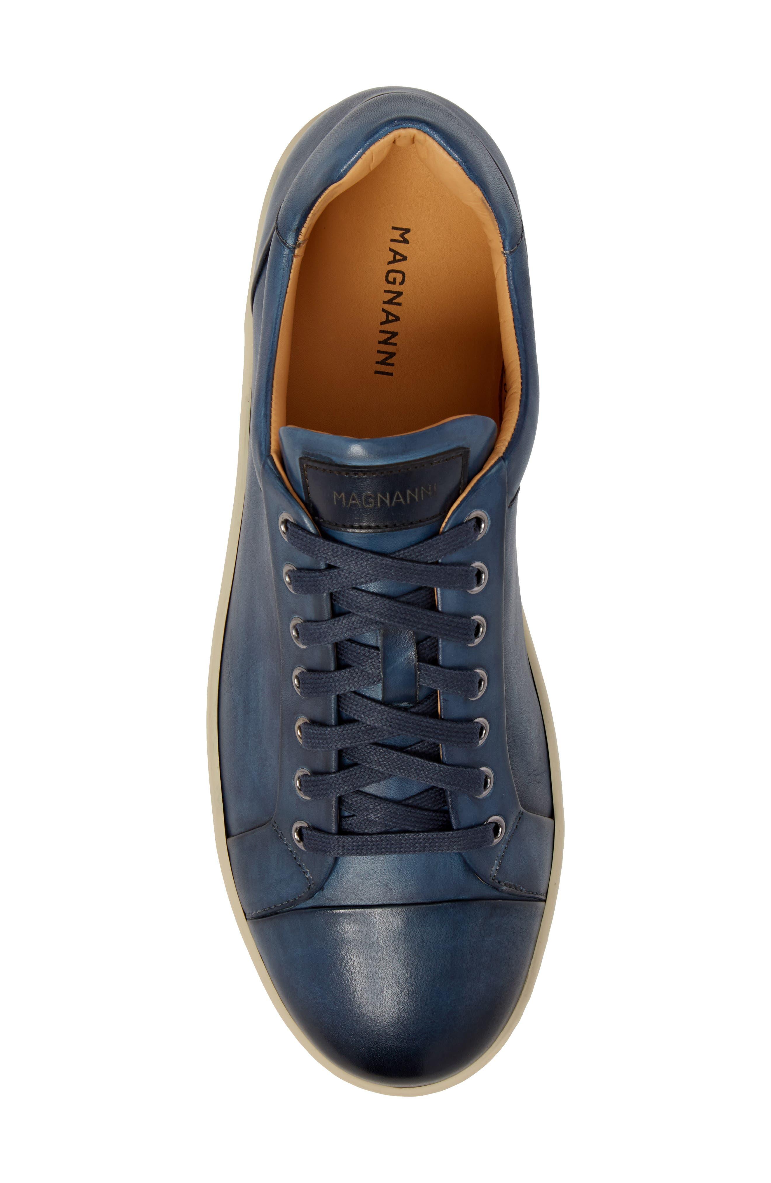 Erardo Low Top Sneaker,                             Alternate thumbnail 5, color,                             BLUE LEATHER
