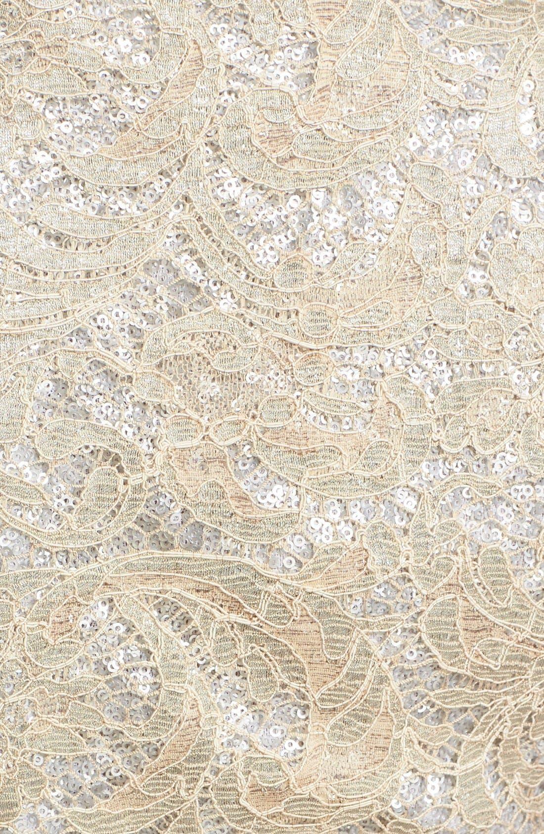 Sequin Lace Column Gown,                             Alternate thumbnail 3, color,                             SAND