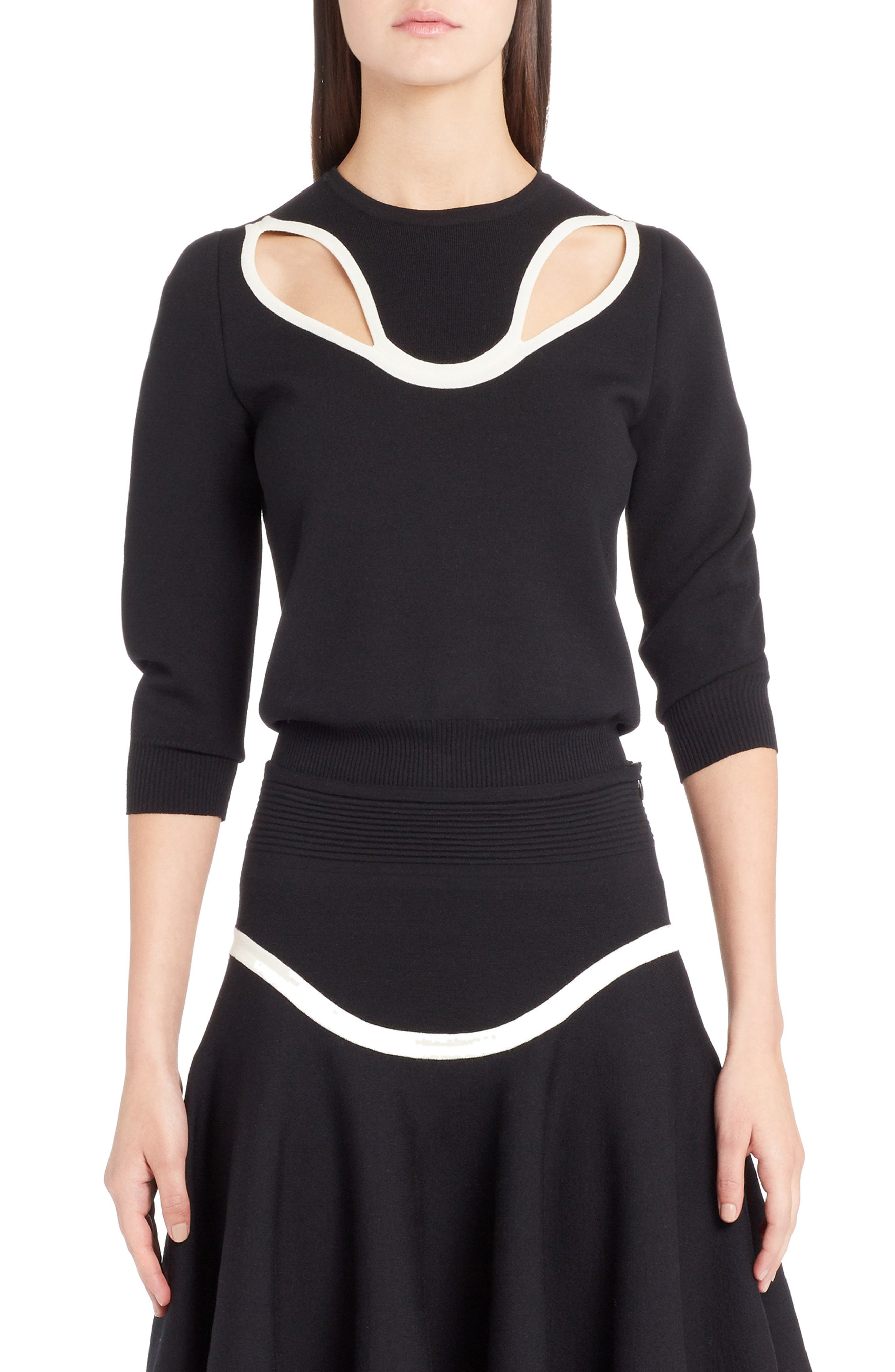Graphic Cutout Sweater,                             Main thumbnail 1, color,                             BLACK/ IVORY