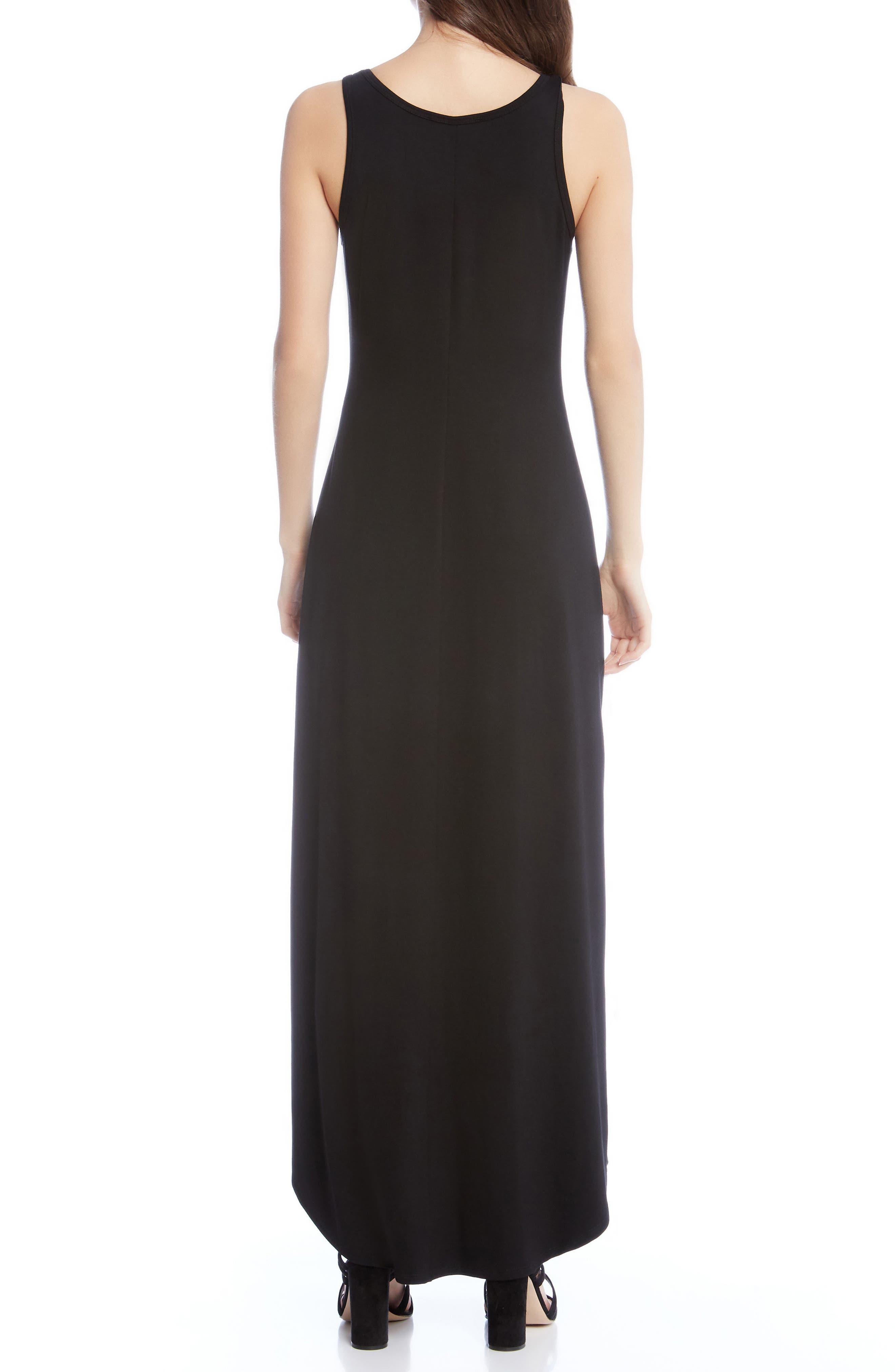 Zipped Side Slit Maxi Dress,                             Alternate thumbnail 2, color,                             001