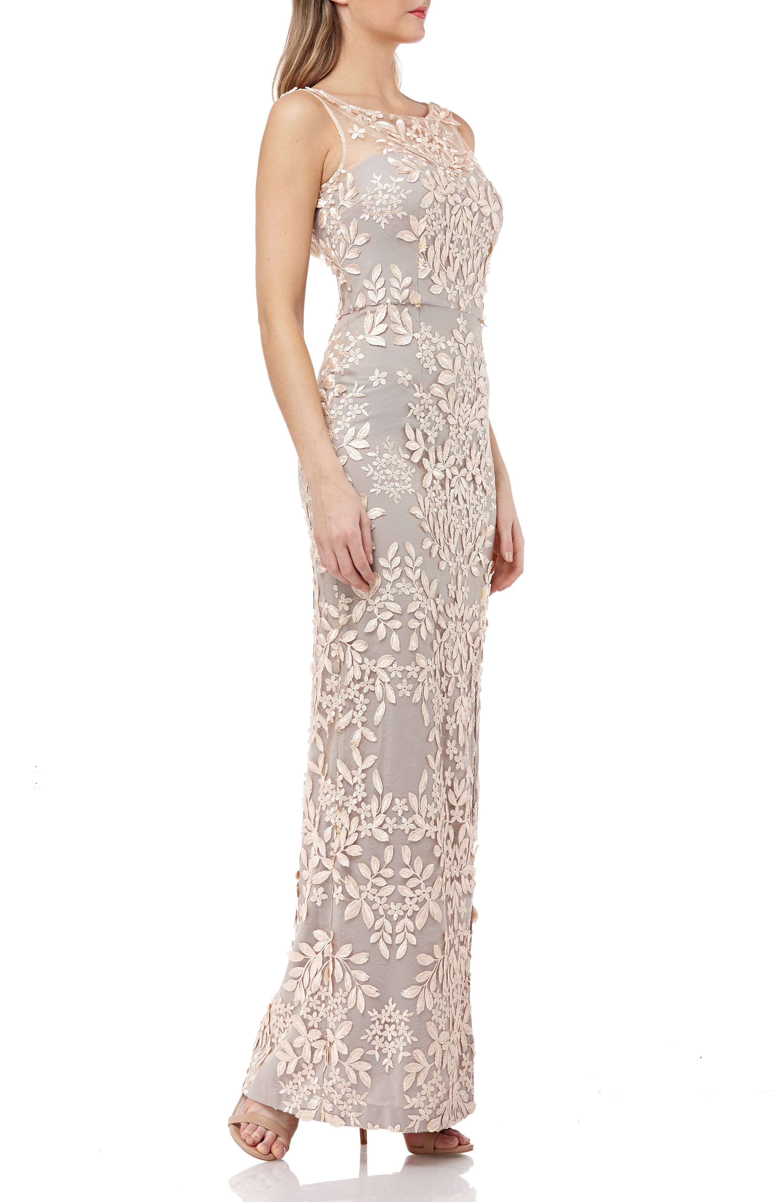 Leaf Embroidered Gown,                             Alternate thumbnail 3, color,                             270