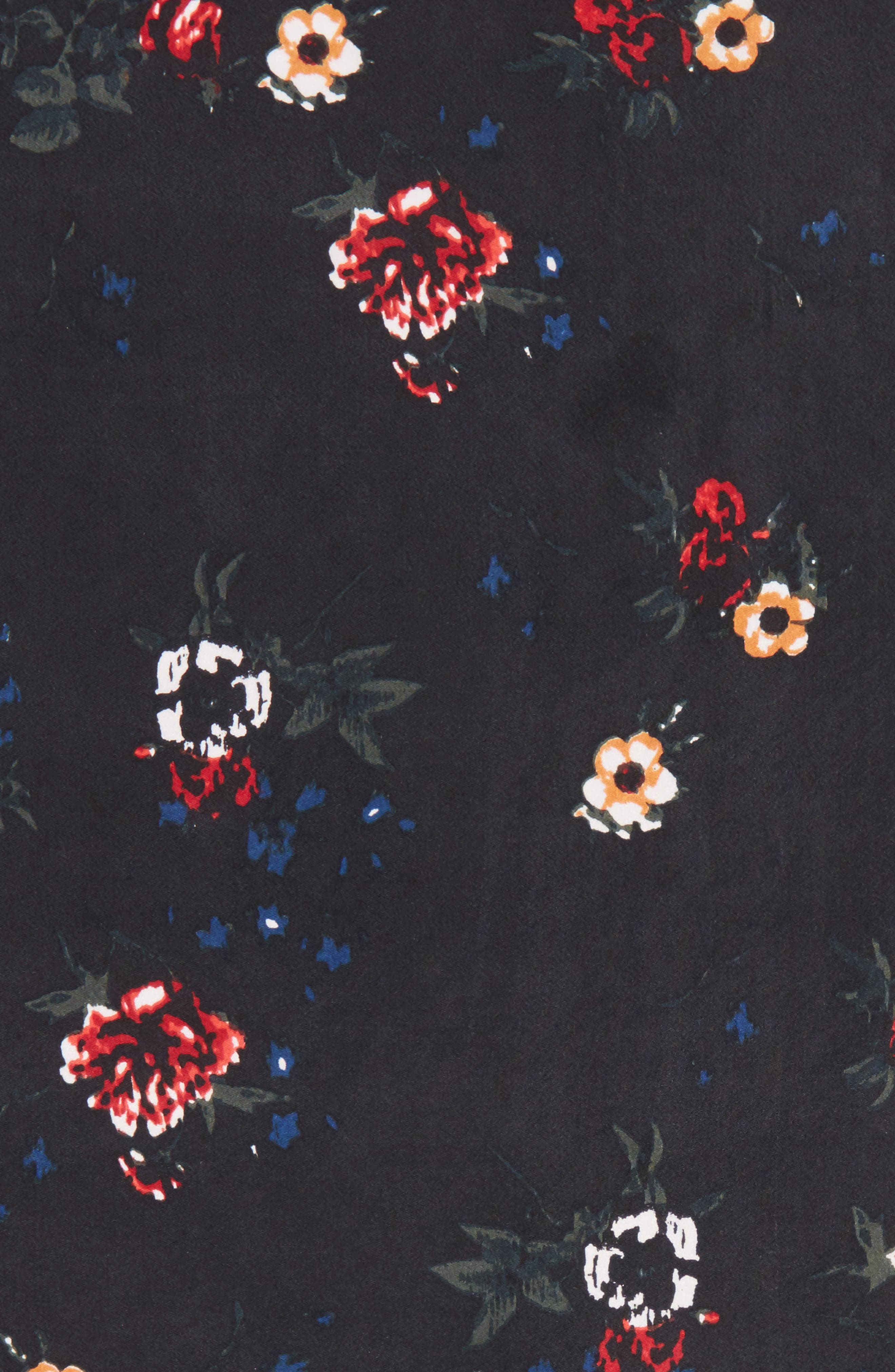 x Something Navy Floral Bouquet Silk Square Scarf,                             Alternate thumbnail 4, color,                             001