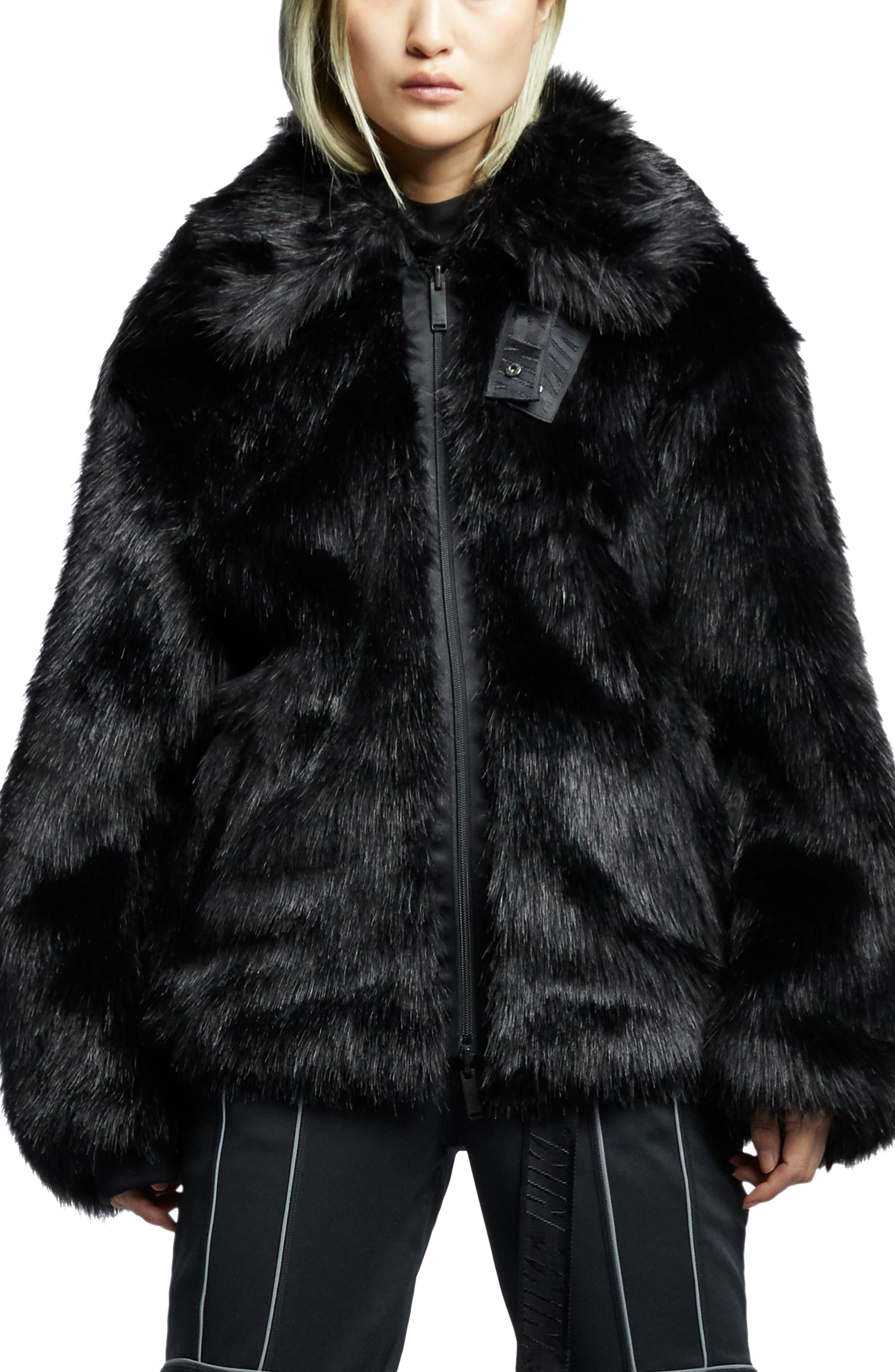 NIKE,                             x Ambush Women's Reversible Faux Fur Coat,                             Main thumbnail 1, color,                             010