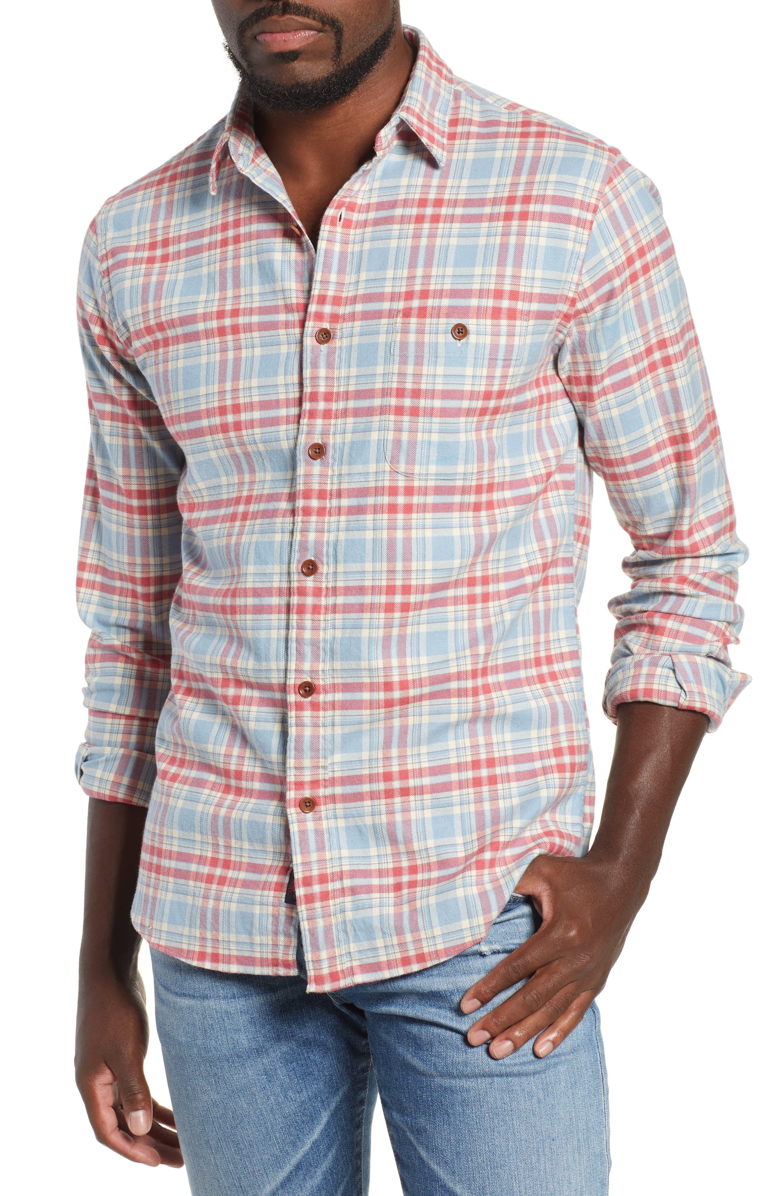 Faherty Seaview Stretch Organic Cotton Plaid Sport Shirt, Blue