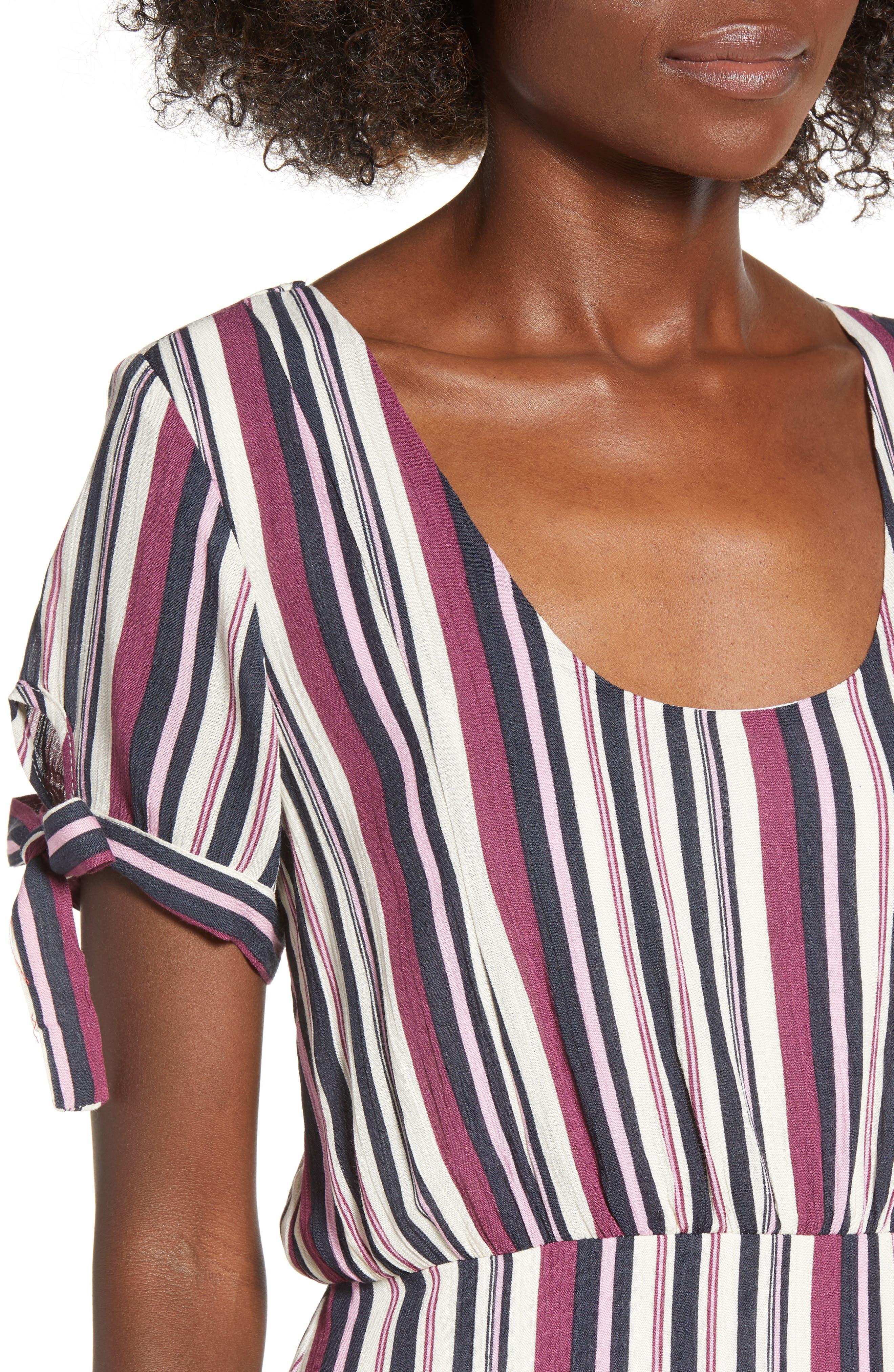 Tie Sleeve Maxi Dress,                             Alternate thumbnail 4, color,                             MULTI STRIPE