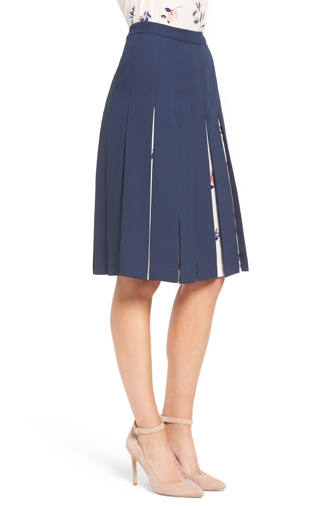 Print Mix Pleated Skirt,                             Alternate thumbnail 9, color,                             410