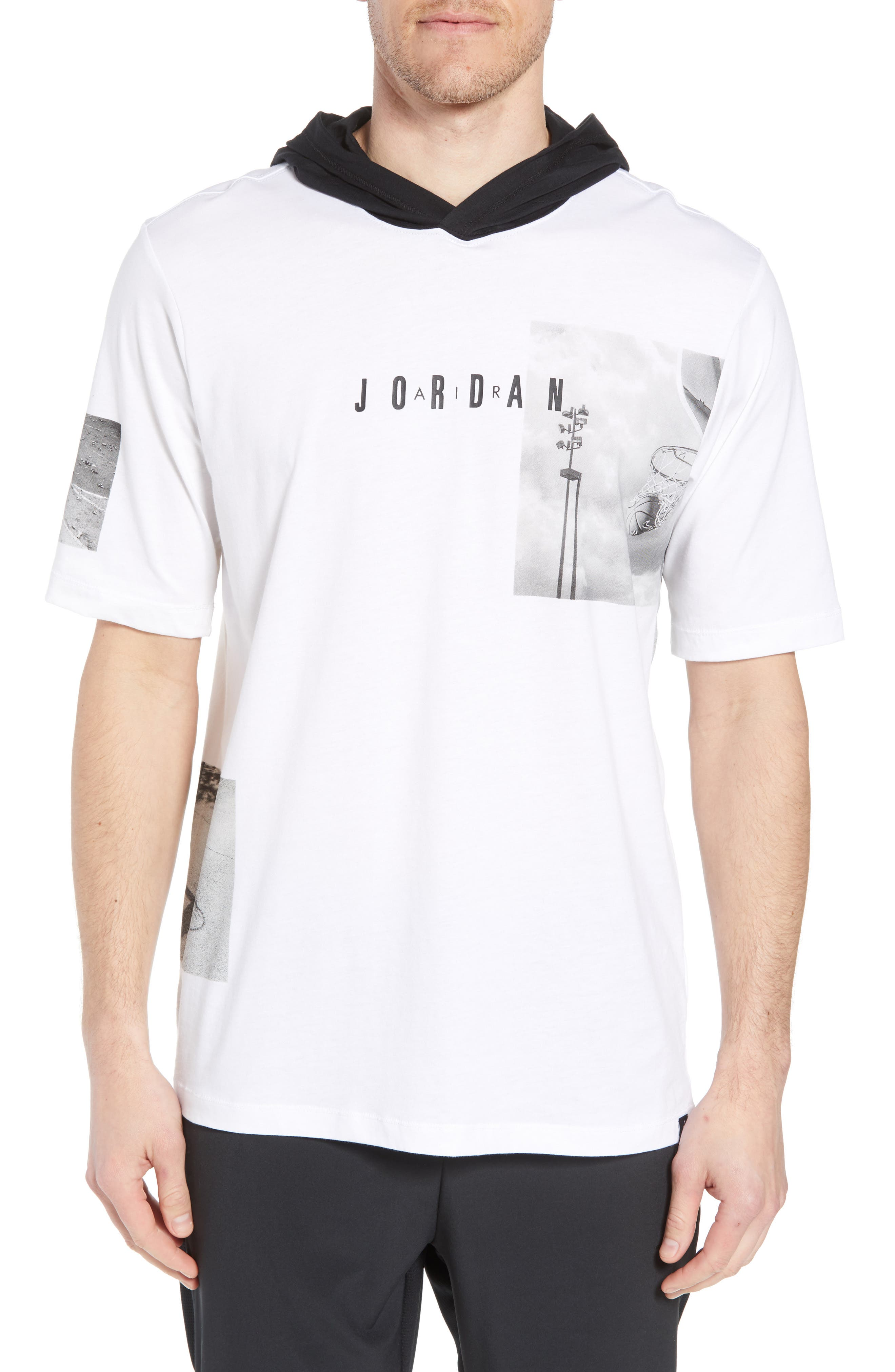 Modern Photo Hooded T-Shirt,                             Main thumbnail 1, color,                             WHITE/ BLACK