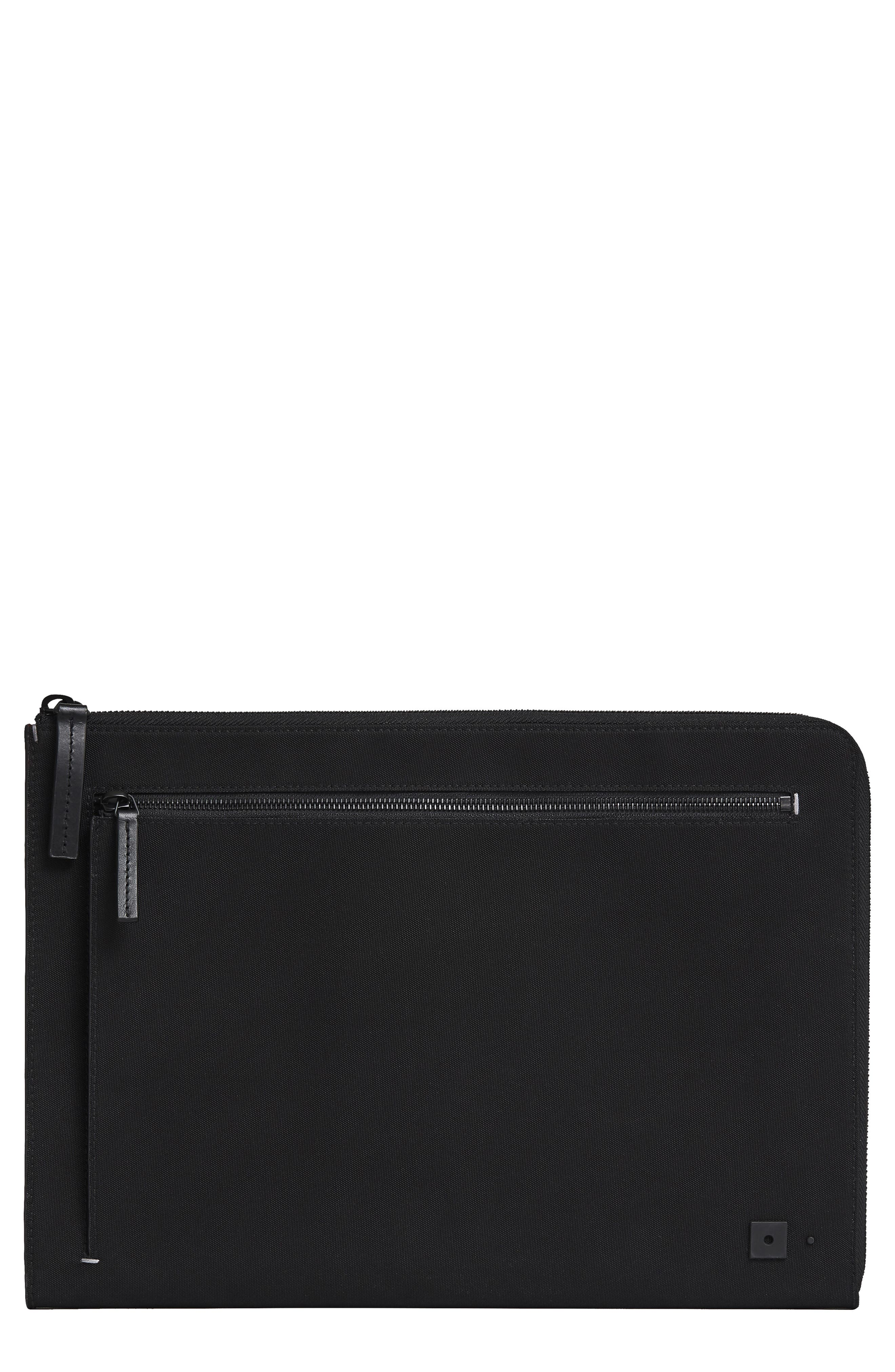 Portfolio Case,                         Main,                         color, BLACK NYLON/ BLACK LEATHER