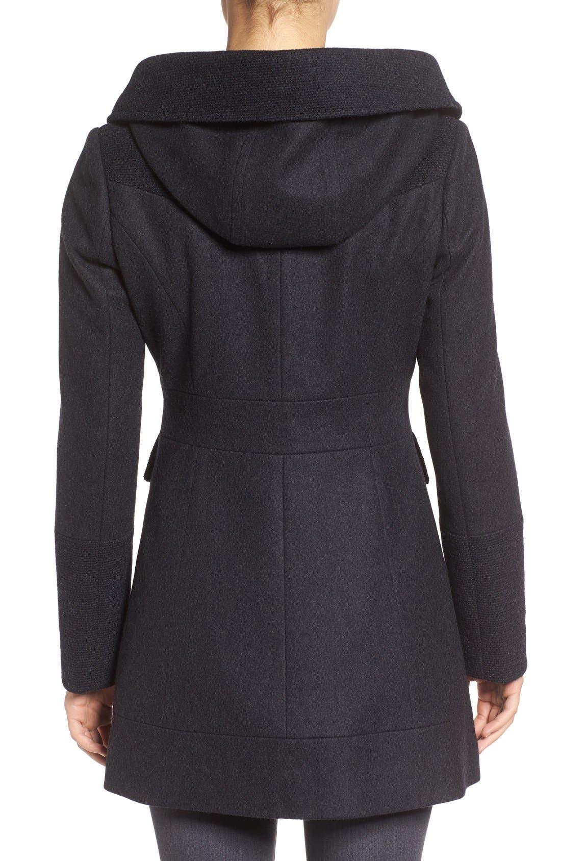 Wool Blend Hooded Coat,                             Alternate thumbnail 2, color,