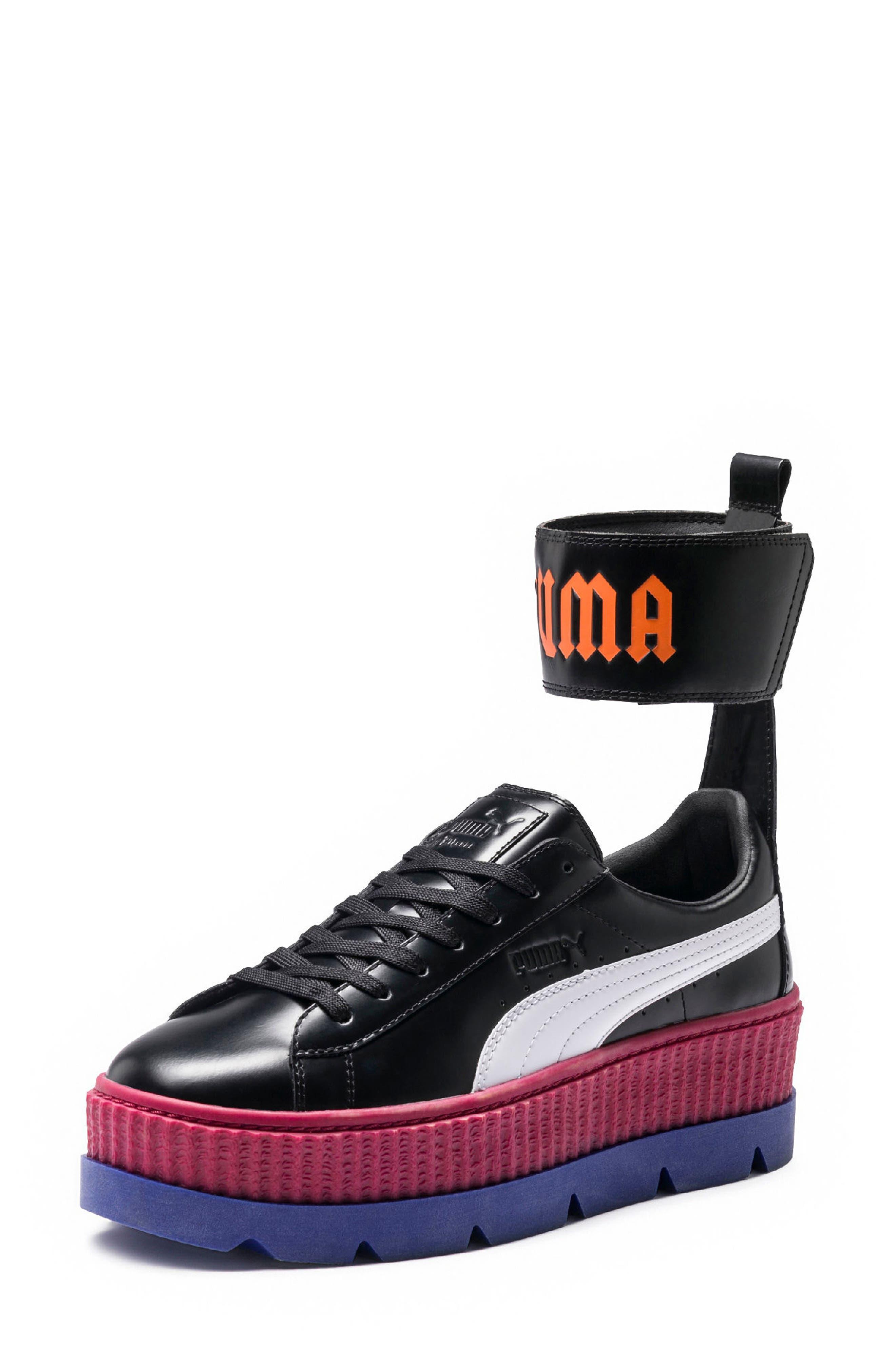 FENTY PUMA by Rihanna Ankle Strap Creeper Sneaker,                             Main thumbnail 1, color,                             001
