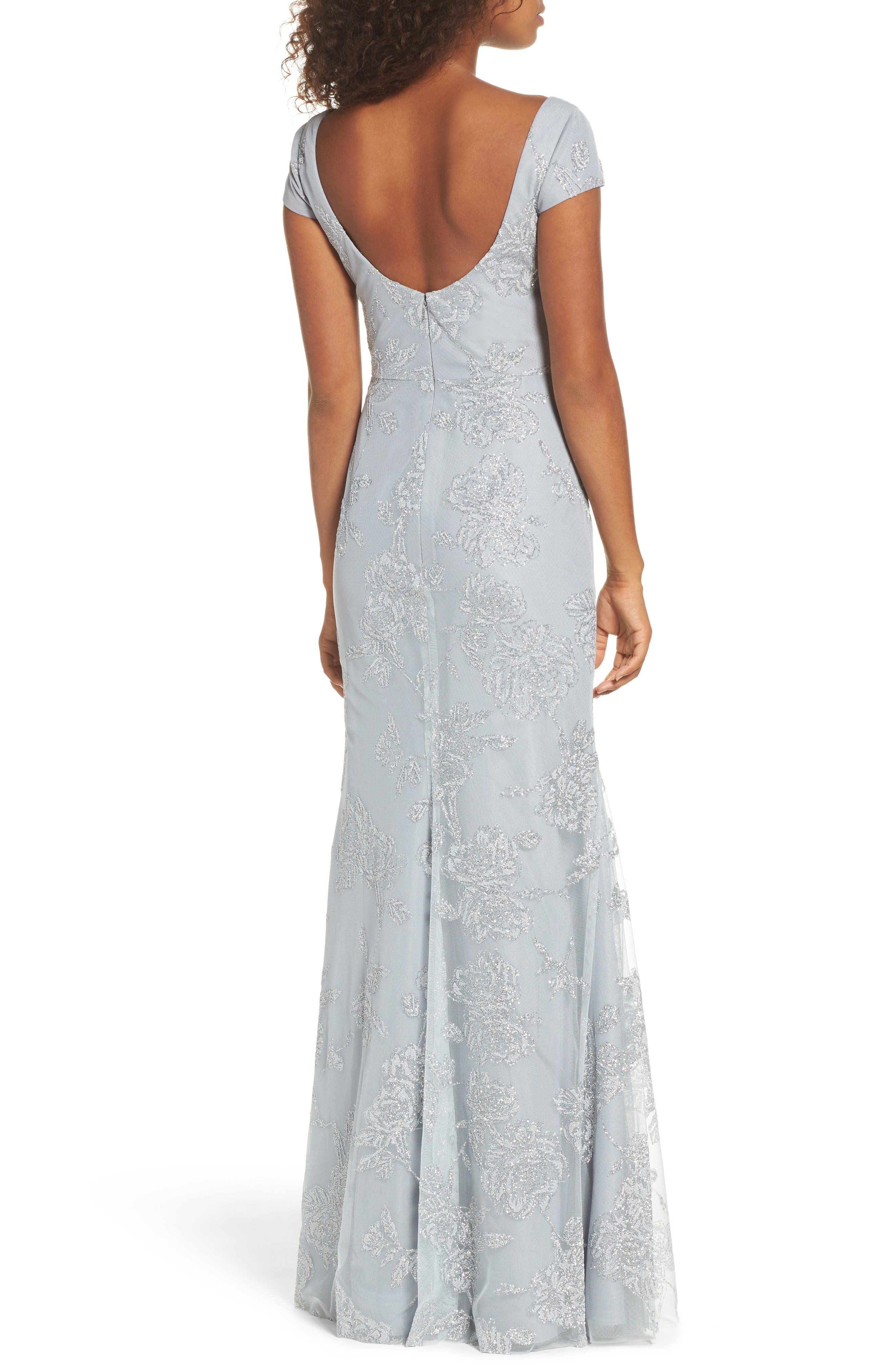 Beaded Trumpet Gown,                             Alternate thumbnail 2, color,                             PEWTER
