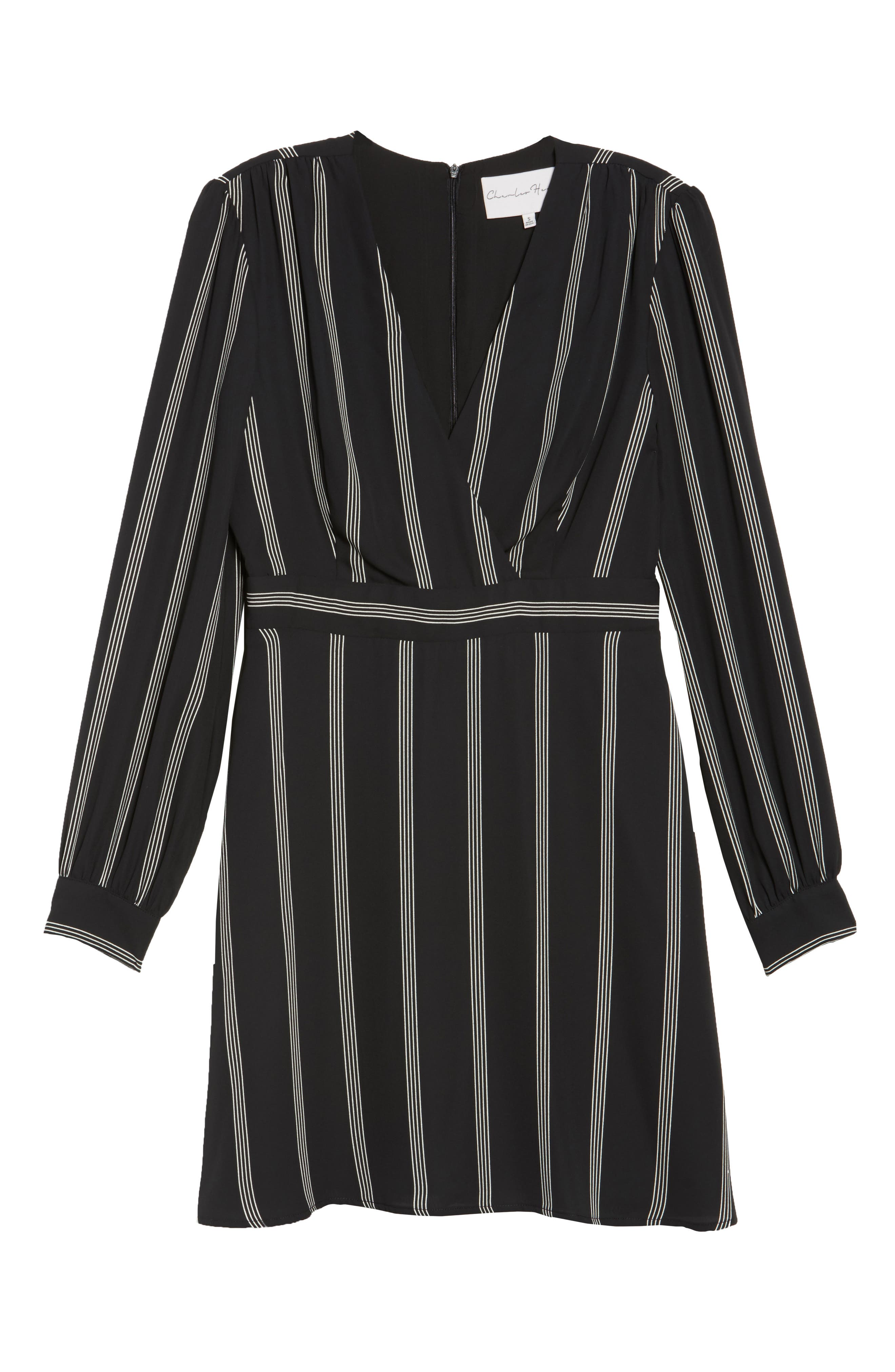 Stripe Fit & Flare Dress,                             Alternate thumbnail 6, color,                             002