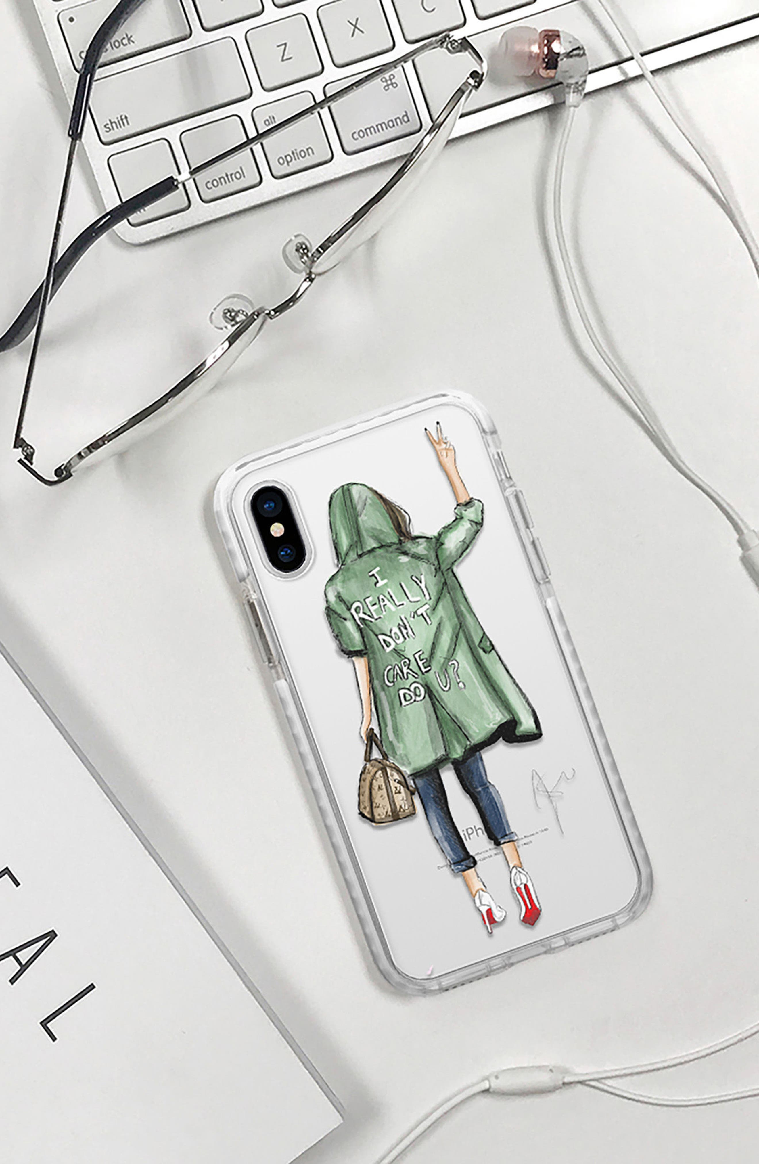 I Really Don't Care iPhone X Case,                             Alternate thumbnail 6, color,