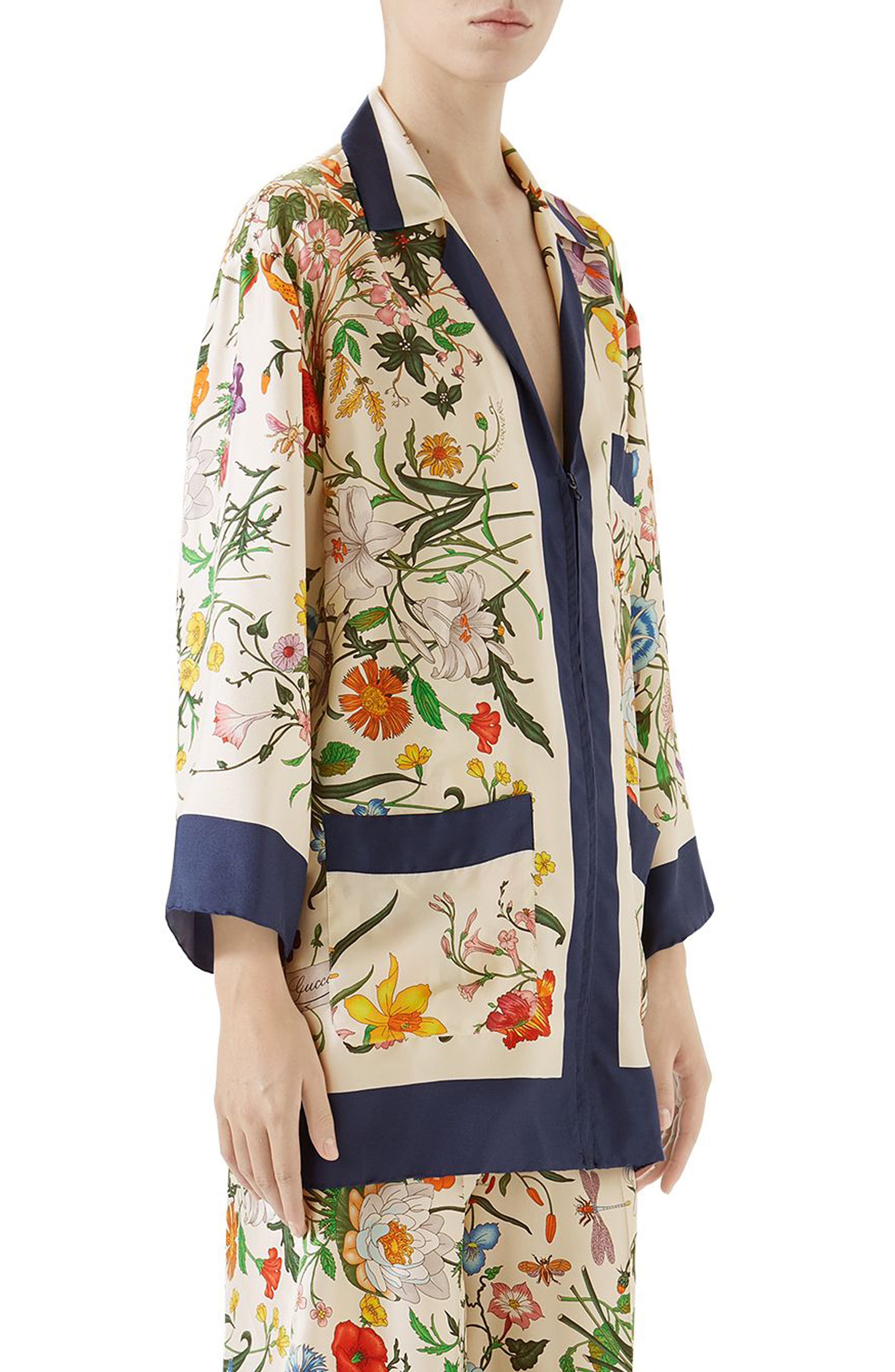 Floral Print Silk Foulard Shirt,                             Alternate thumbnail 3, color,                             BLUE/ IVORY PRINT