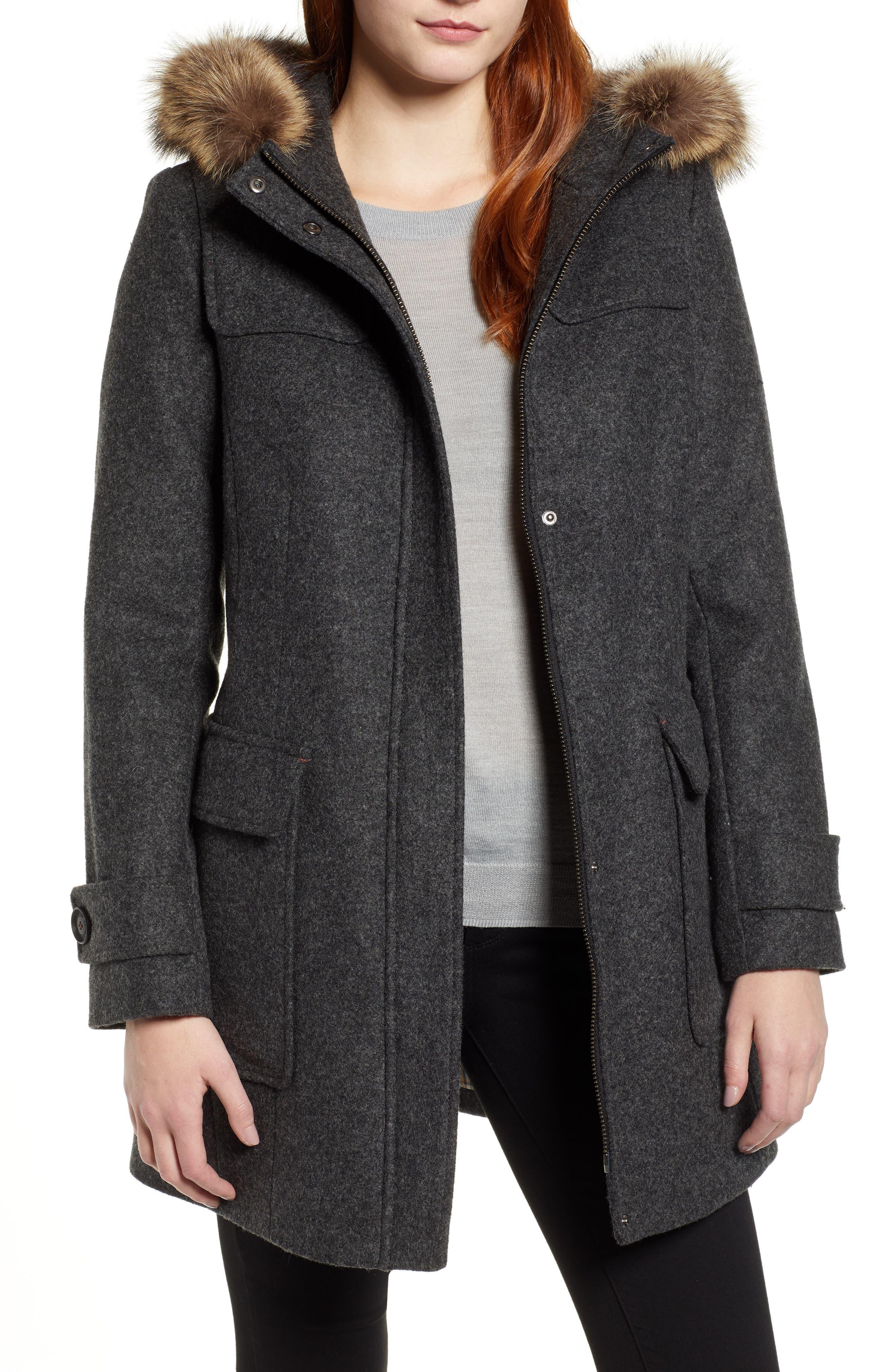 Portland Wool Duffle Coat with Genuine Fur Trim,                         Main,                         color, ASH MEL