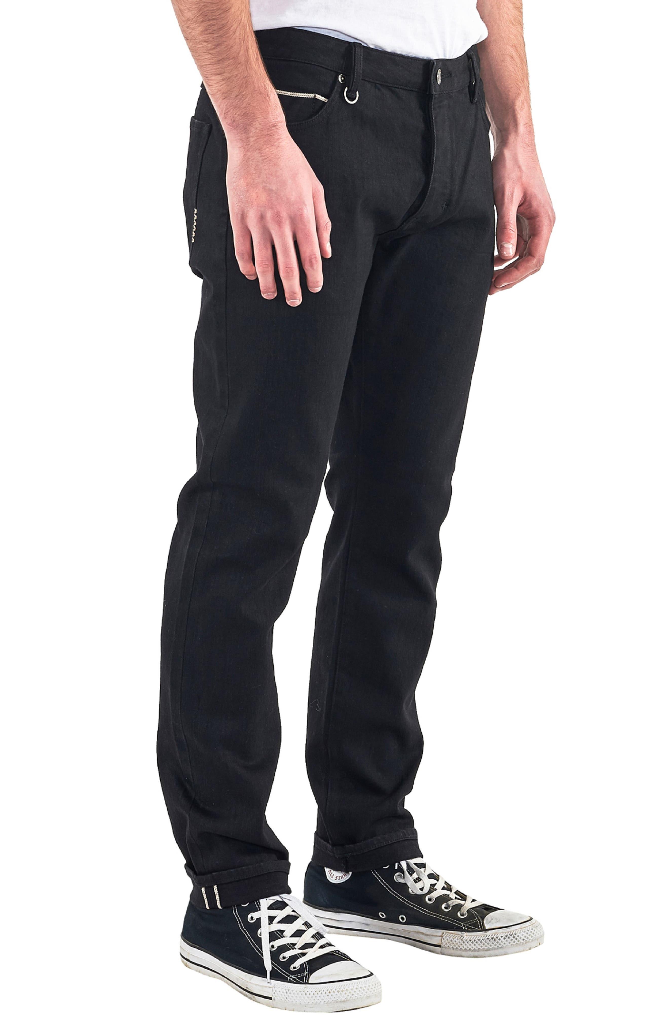 Lou Slim Fit Jeans,                             Alternate thumbnail 3, color,                             BLACK SELVEDGE