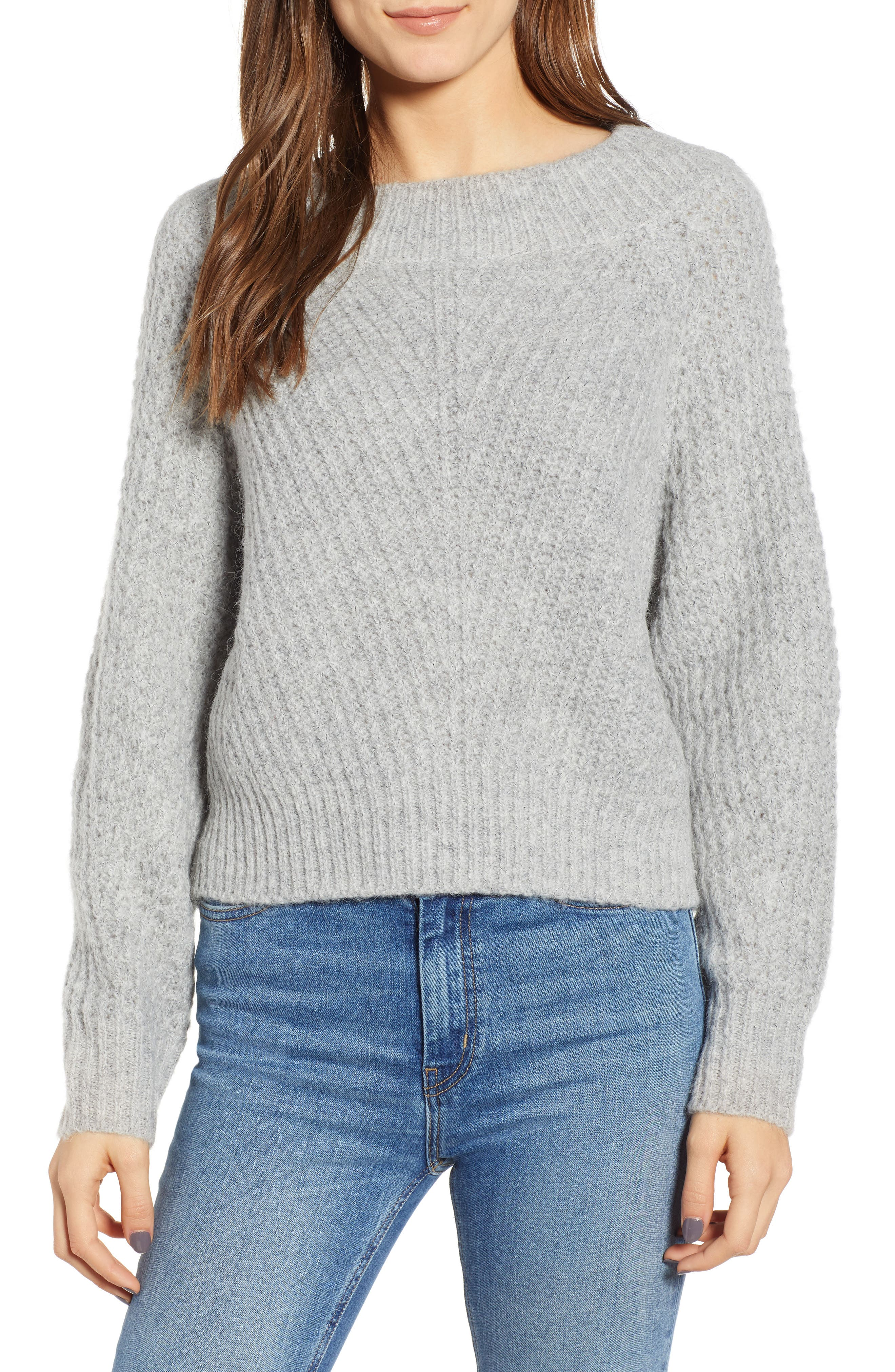 Chunky Crewneck Pullover Sweater,                             Main thumbnail 1, color,                             GREY PEARL HEATHER