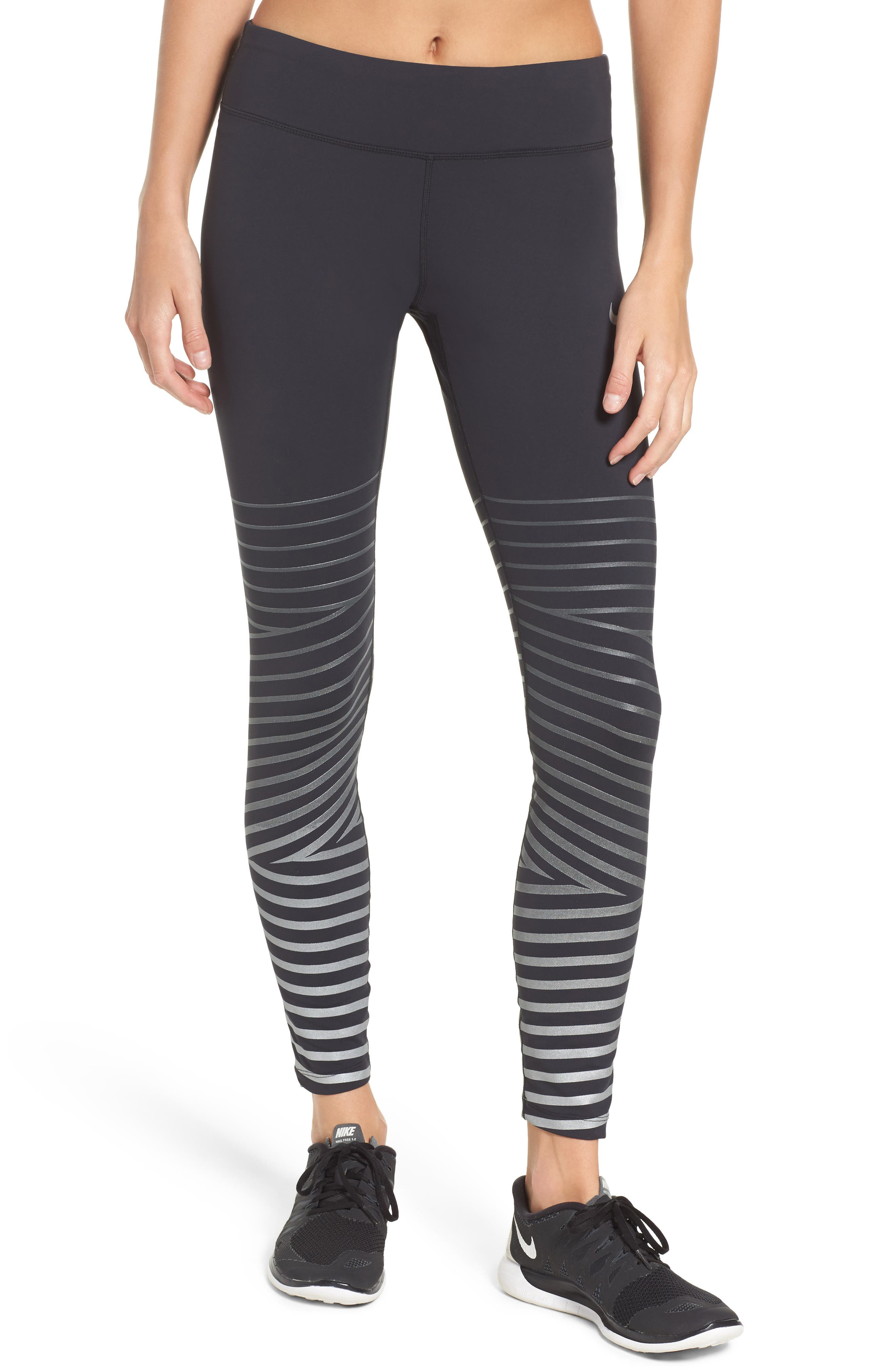 Power Epic Lux Flash Running Tights,                             Main thumbnail 1, color,                             010