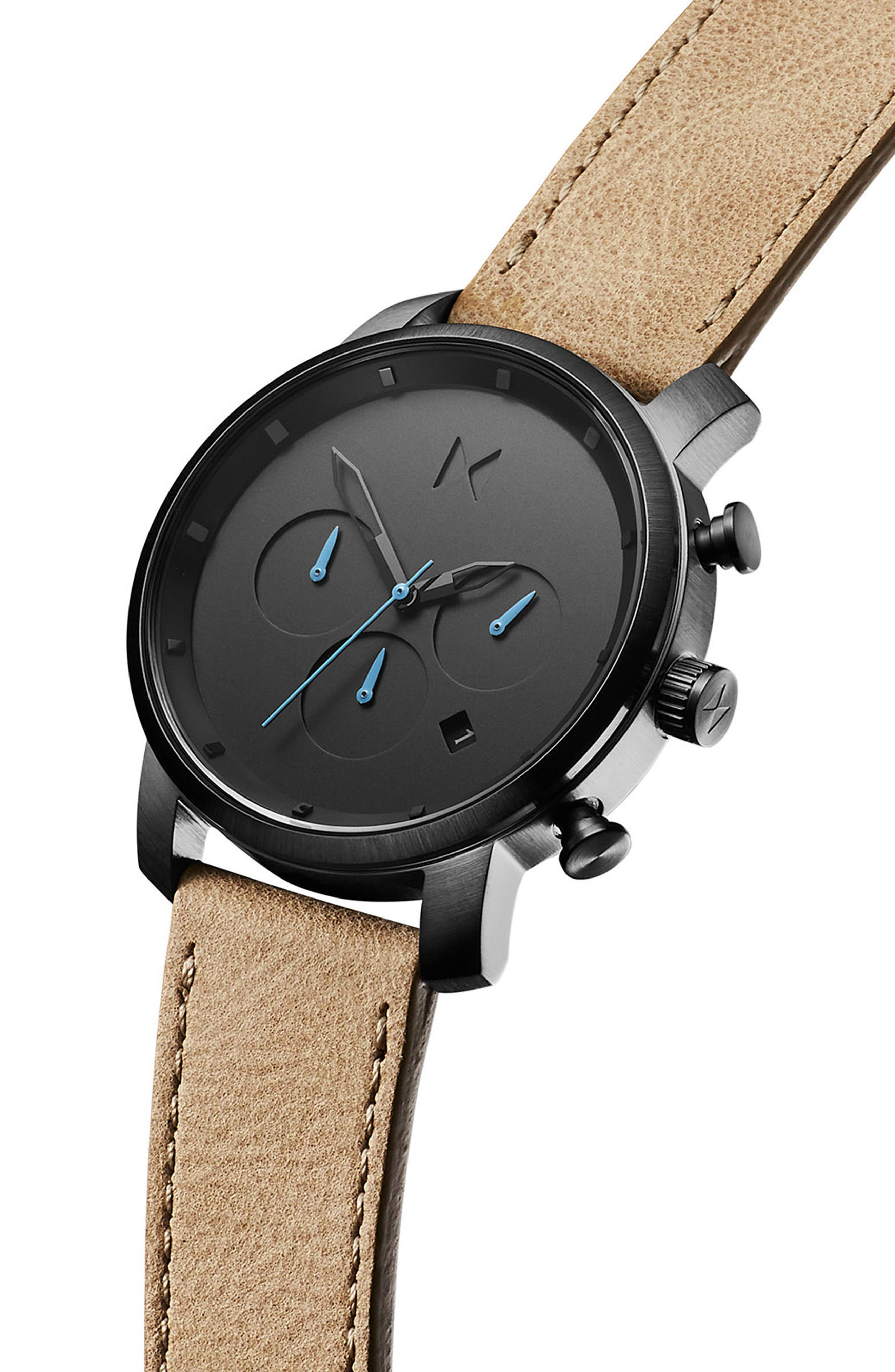 Chrono Chronograph Leather Strap Watch, 40mm,                             Alternate thumbnail 3, color,                             SANDSTONE/ GUNMETAL