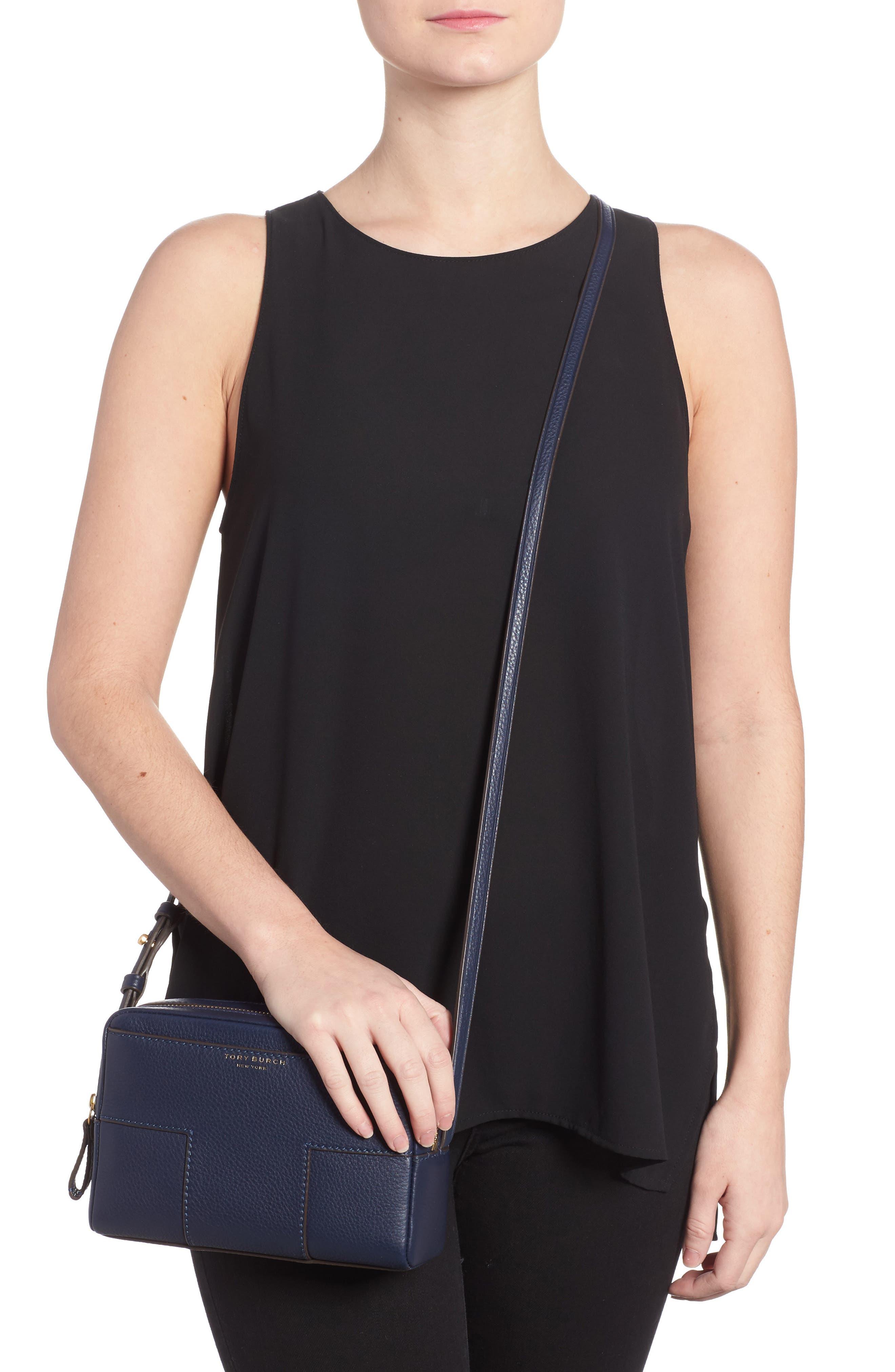 Block-T Double Zip Leather Crossbody Bag,                             Alternate thumbnail 4, color,